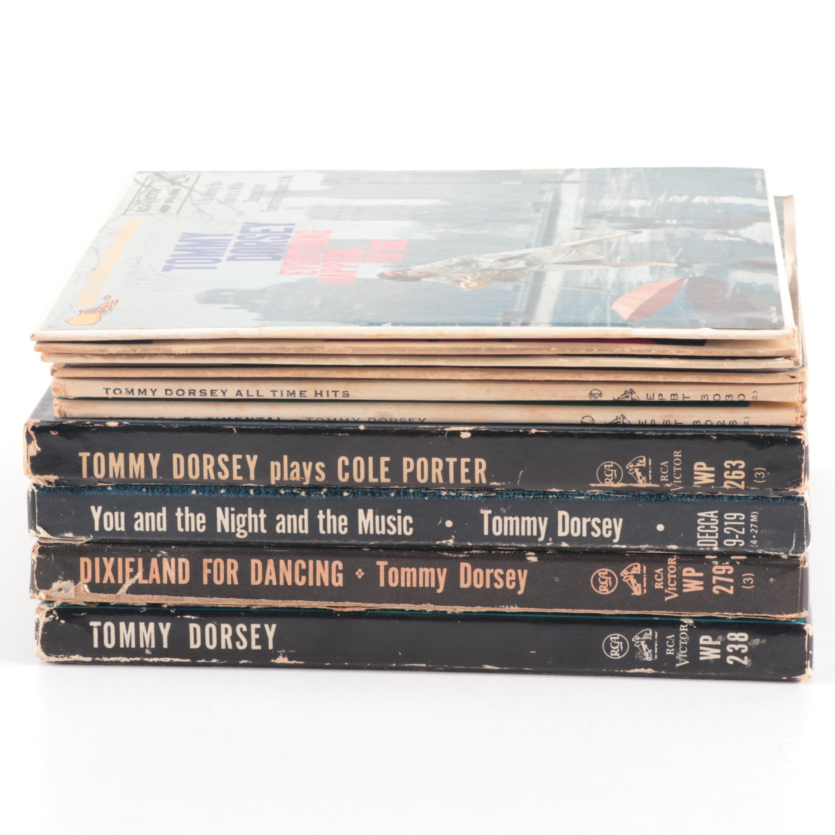"""Tommy Dorsey 45 RPM Vinyl Records including """"Dixieland for Dancing"""""""