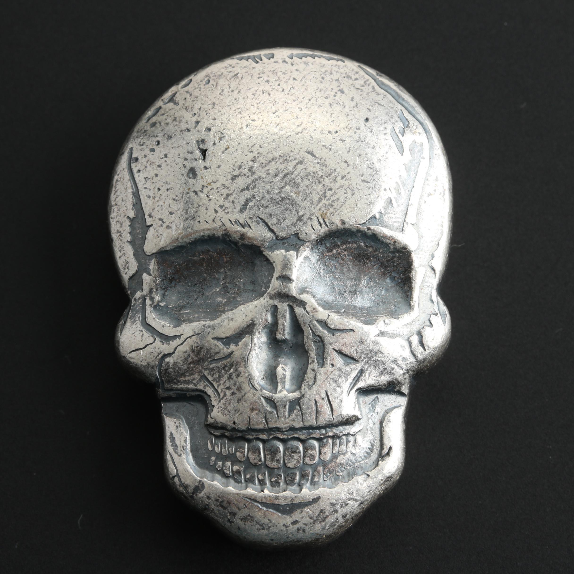 Skull Shaped 2 Troy Ounce .999 Fine Silver Bar