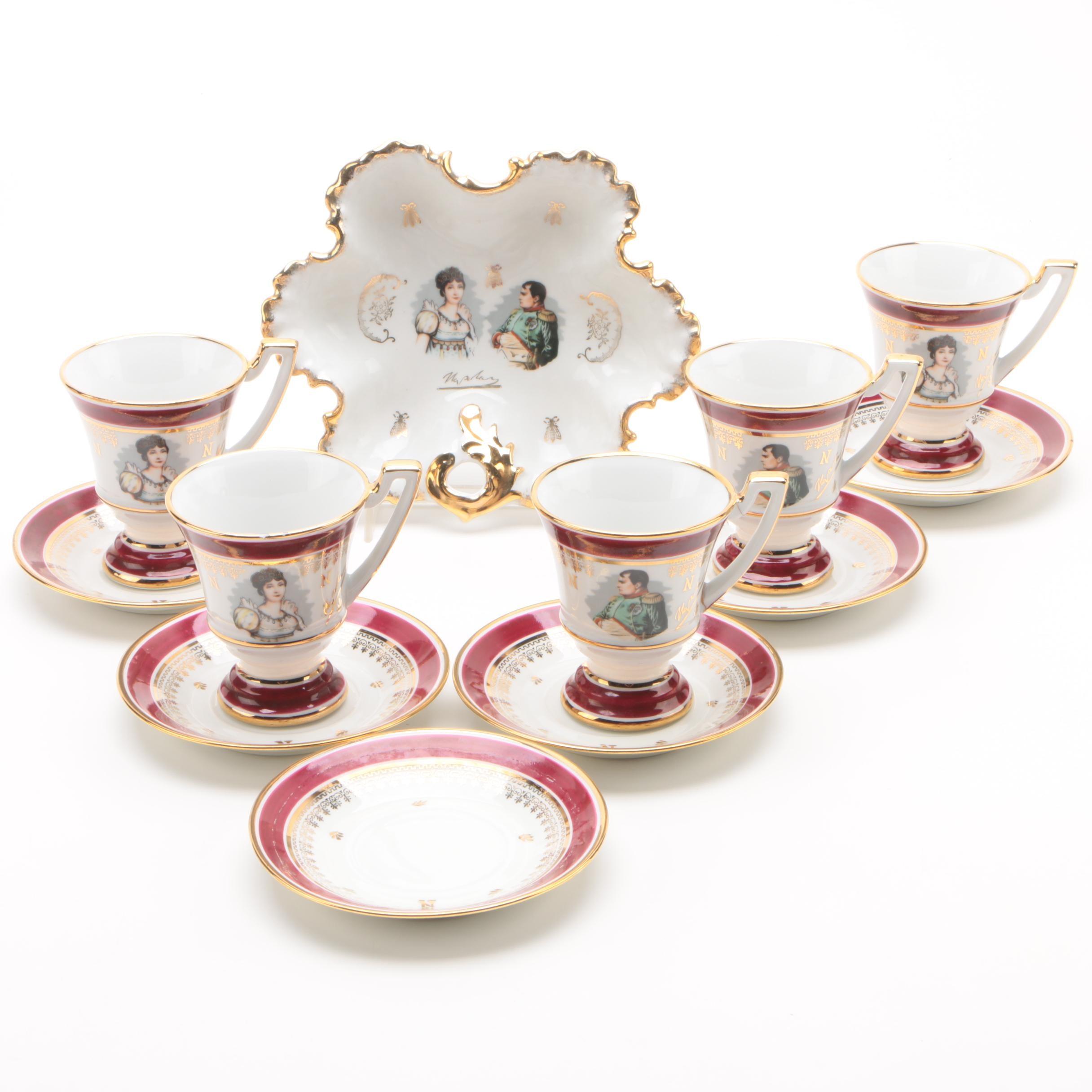 "Vintage Porcelaine de Lux ""Corse"" Cups and Saucers with Dish"