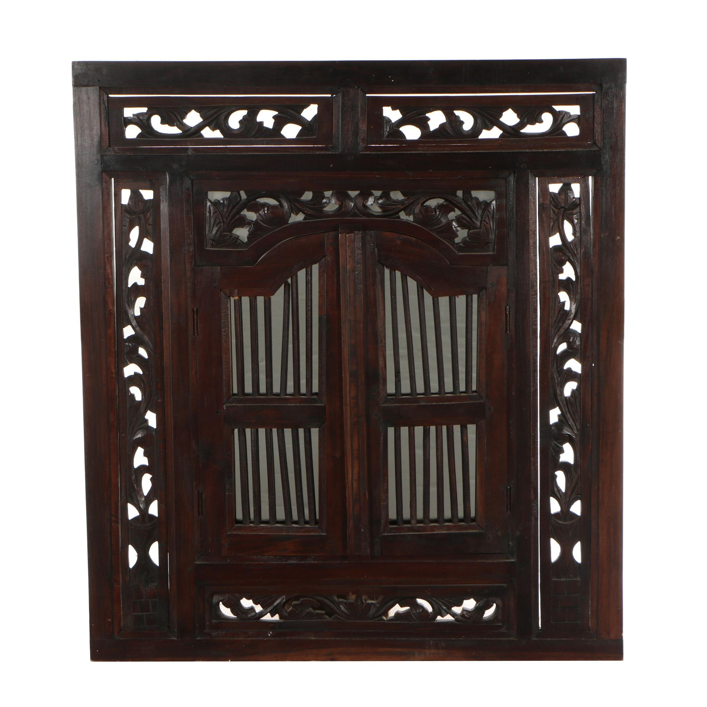 Balinese Style Carved Wood Window Mirror with Hinged Doors