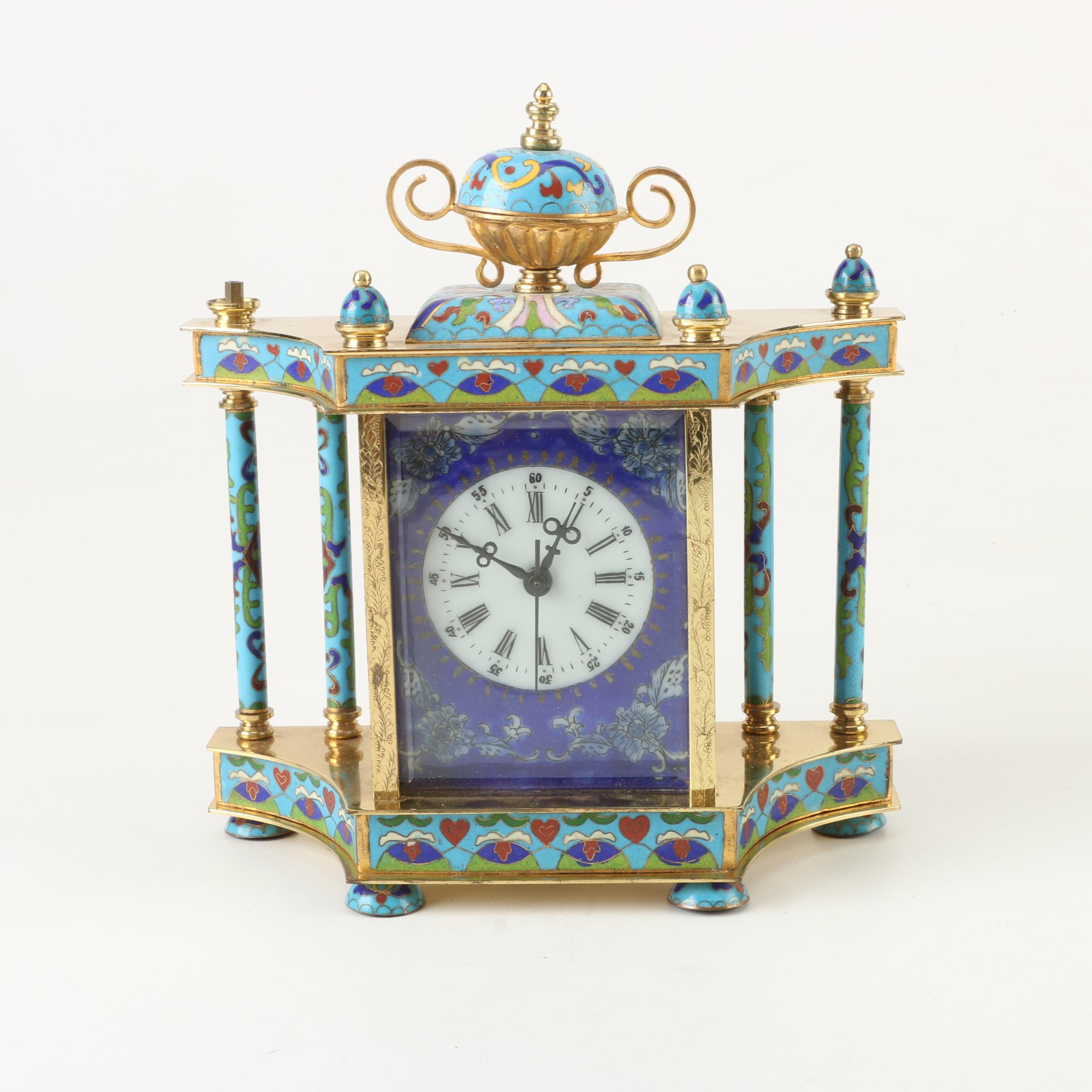 Chinese Empire Style Cloisonne and Brass Clock