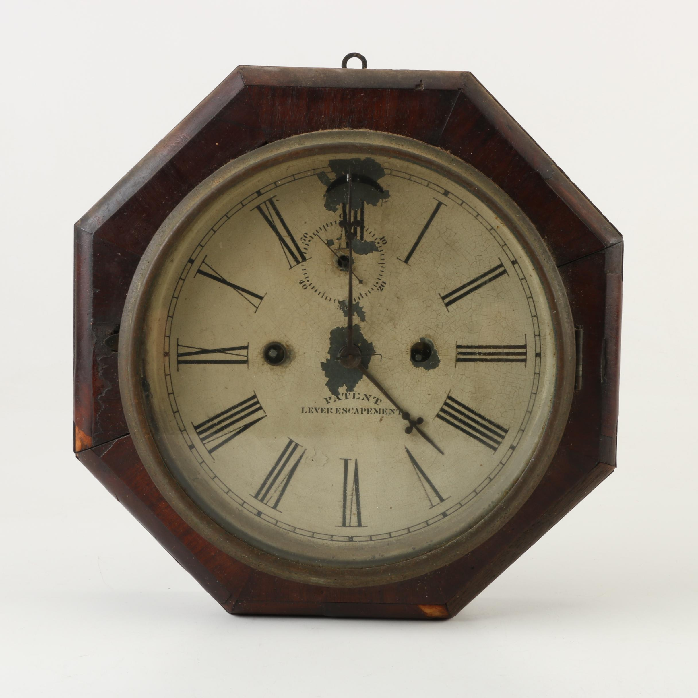 Antique Mahogany Veneer Waterbury Lever Escapement Wall Clock