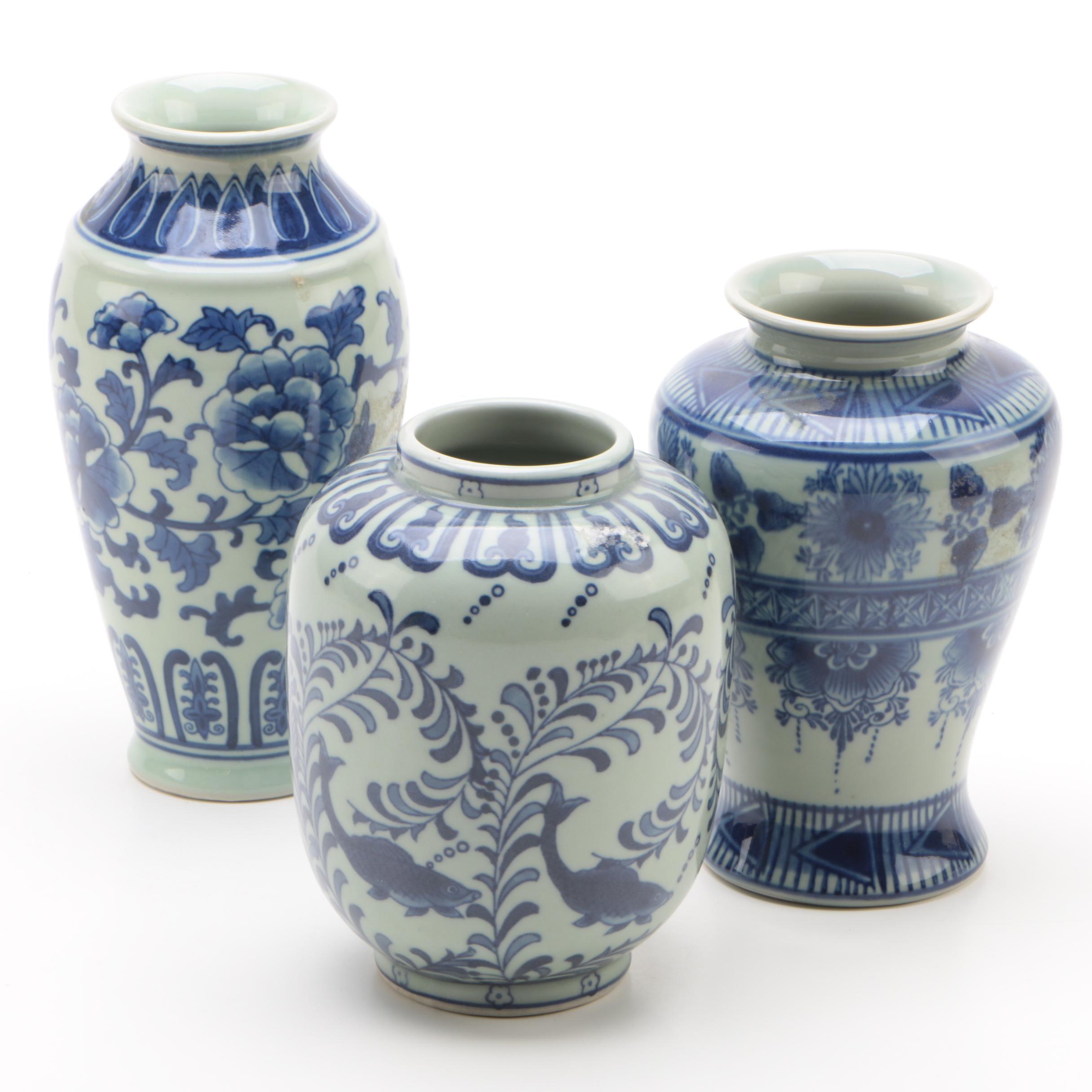 Chinese Blue on White Ceramic Vases