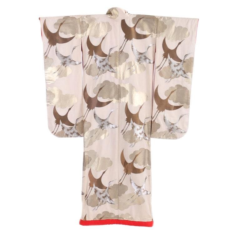 Circa 1960s Vintage Japanese Handwoven Silk Uchikake Kimono