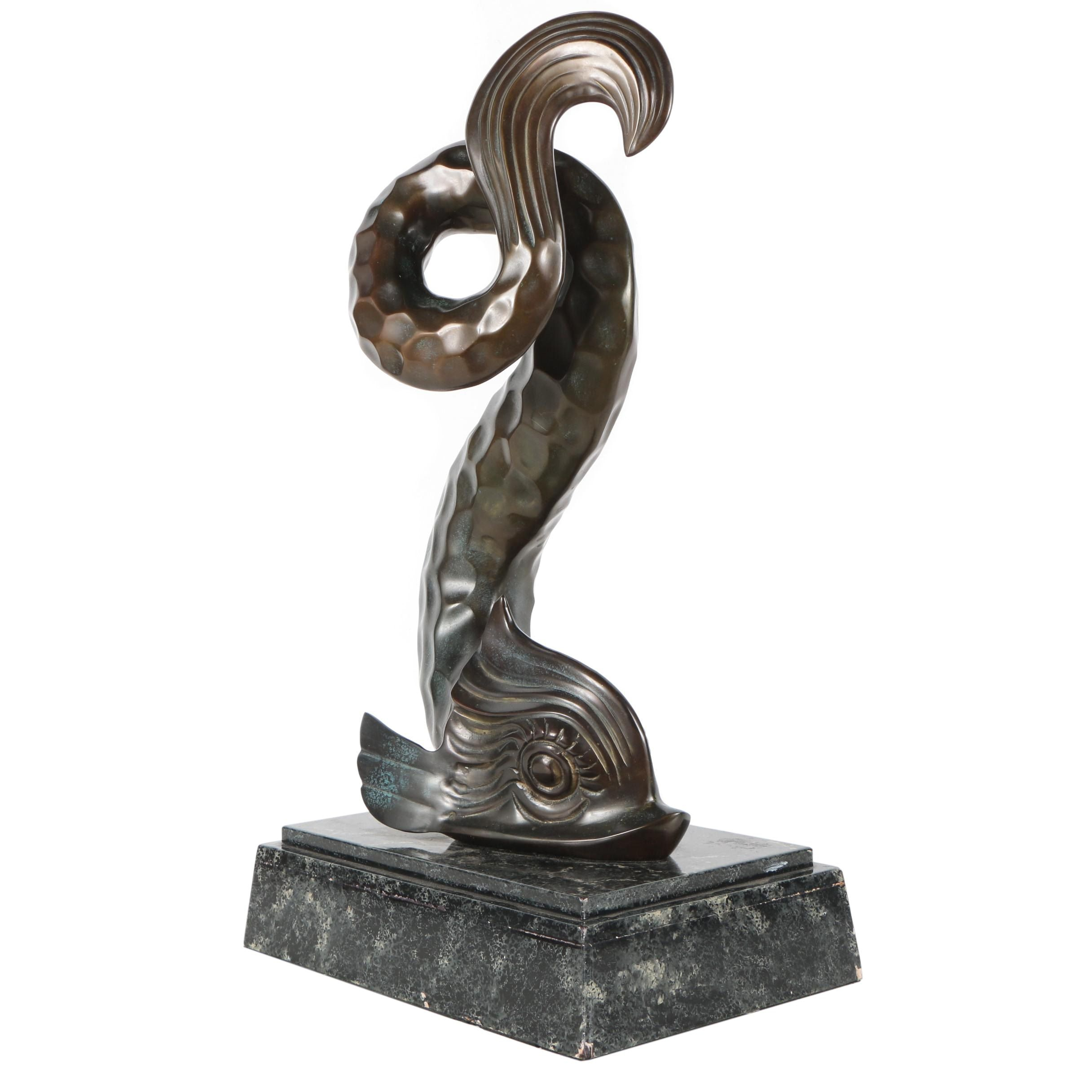 Large Classical Style Brass Dolphin Sculpture