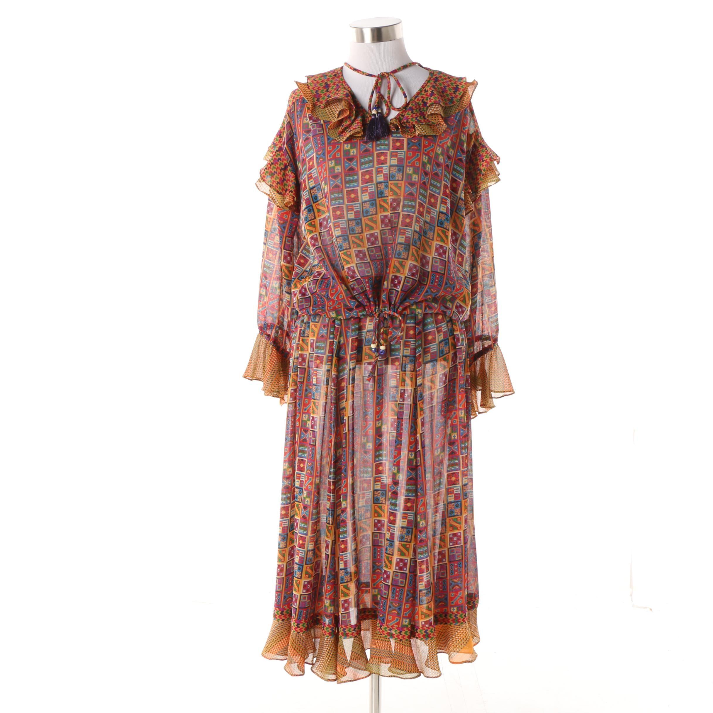 Vintage Diane Fres Geometric Print Skirt Set with Ruffled Trim