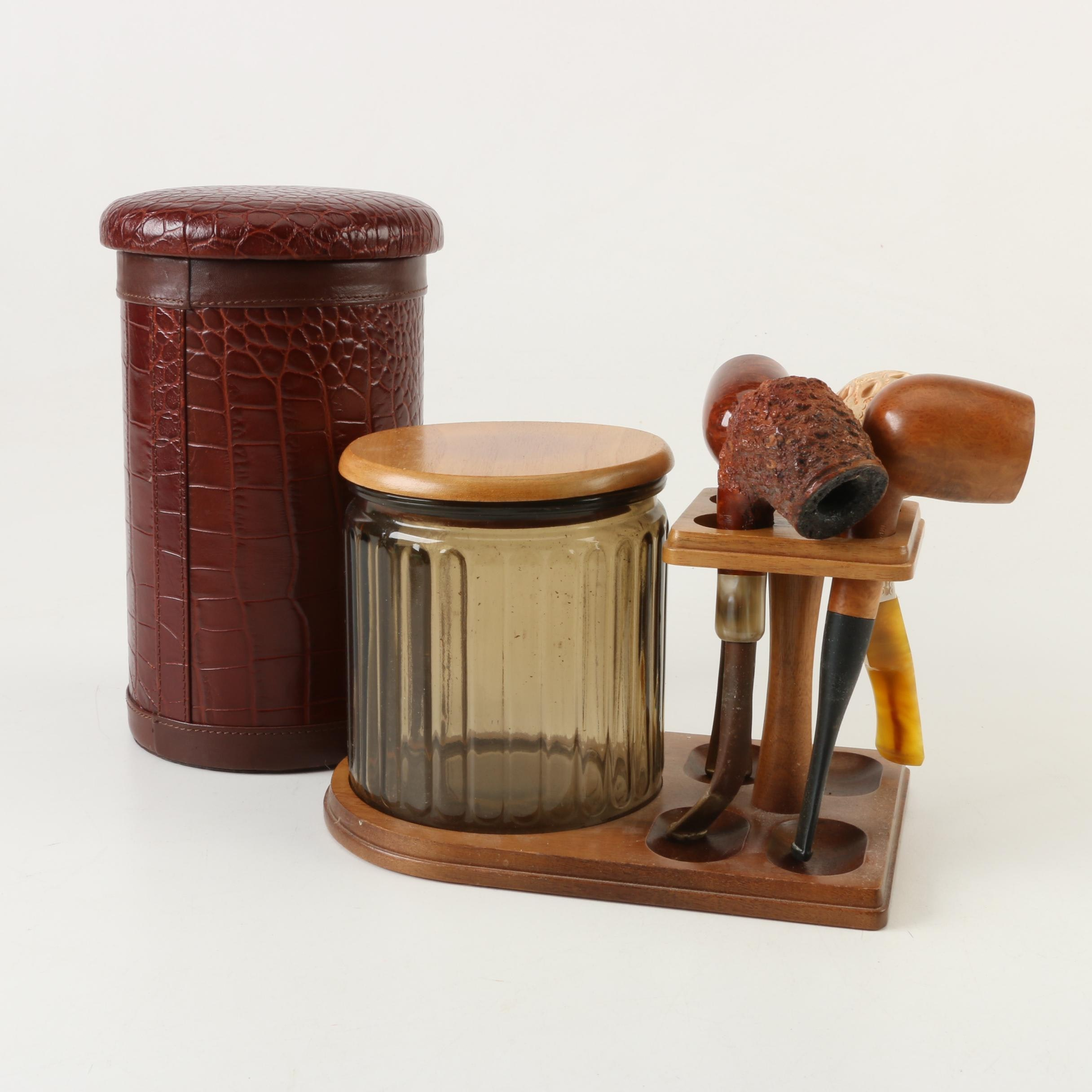 Meerschaum and Briar Tobacco Pipes on Stand with Jar and Humidor