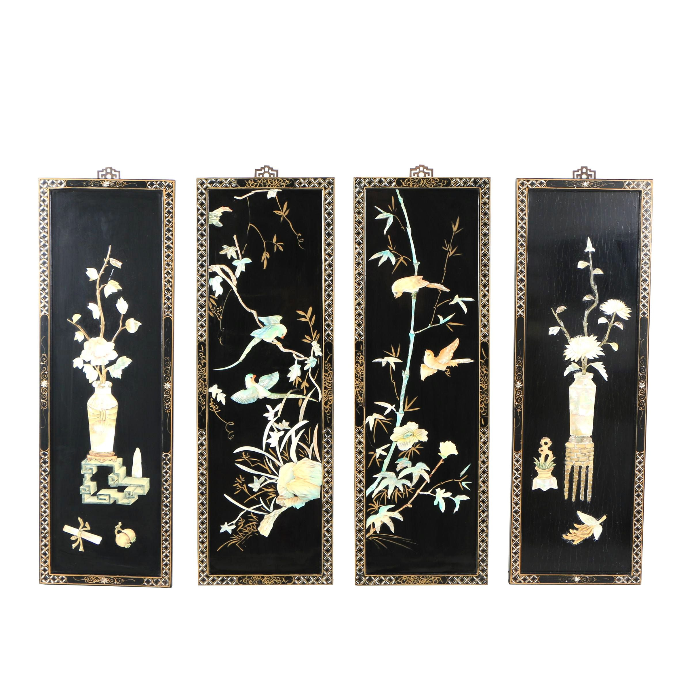 Chinese Black Lacquer Panels with Mother of Pearl Inlay