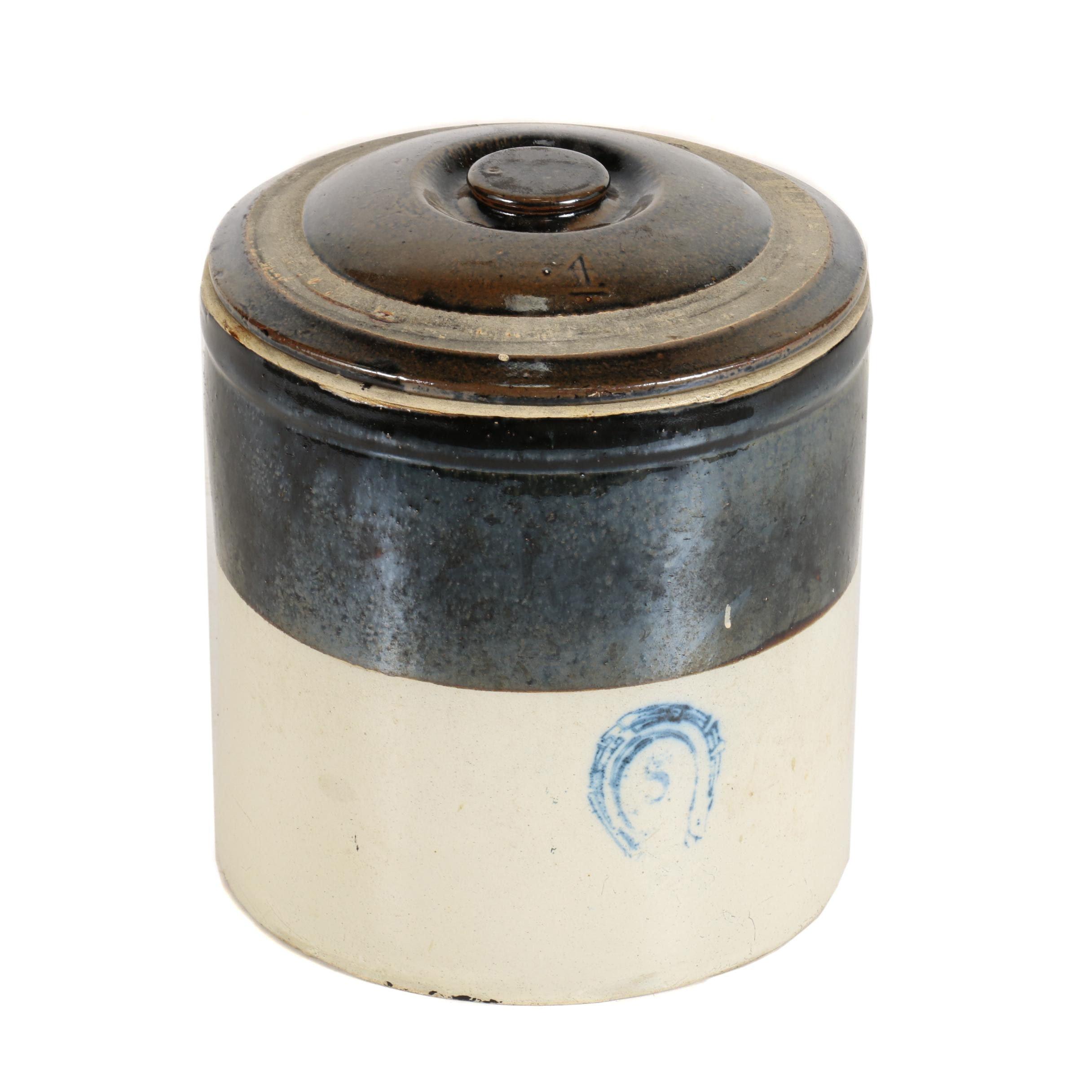 Four Gallon Lidded Stoneware Crock
