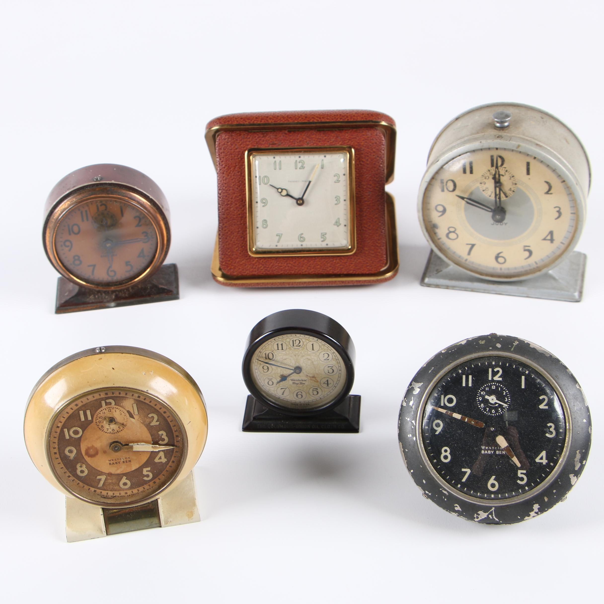 Vintage Desk and Travel Clocks Featuring Baby Ben and Phinney Walker