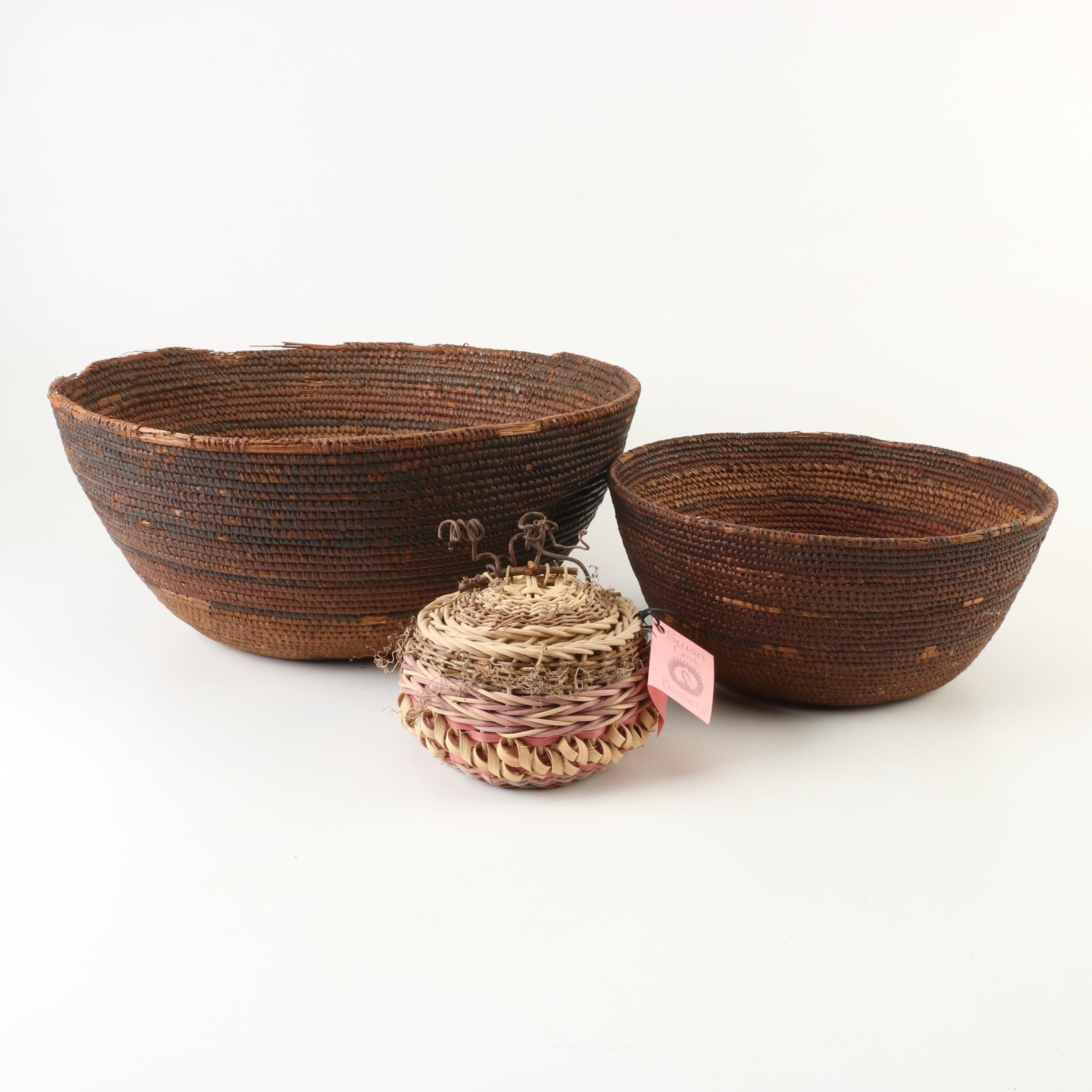 Semi-Antique Woven Coil Baskets with Swan Creek Lidded Basket