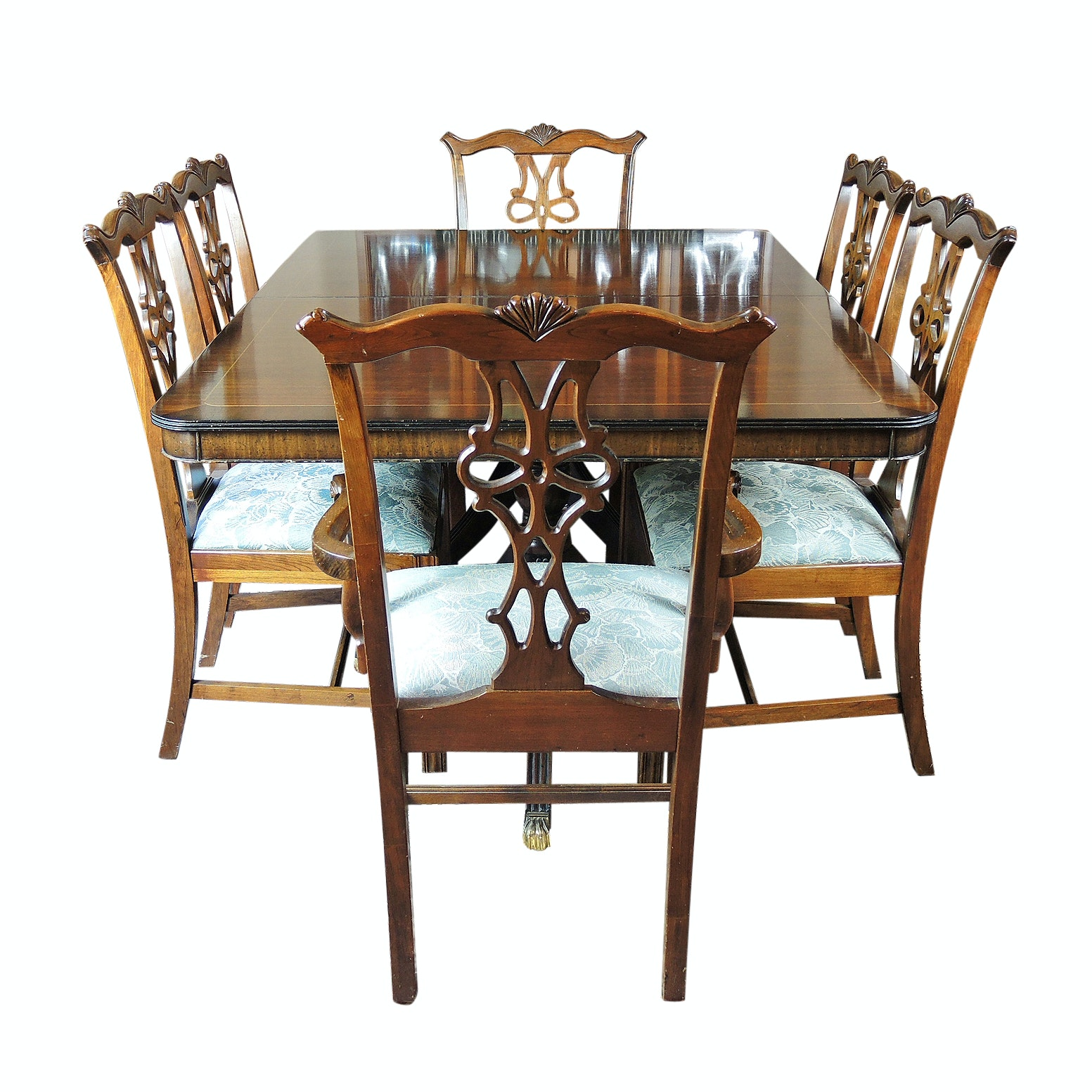 Chippendale Style Walnut Dining Table and Chairs, Late 20th Century
