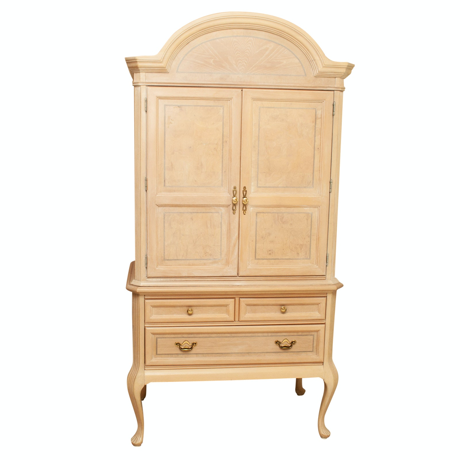 Louis XV Style Blonde Finish Media Armoire, Late 20th Century