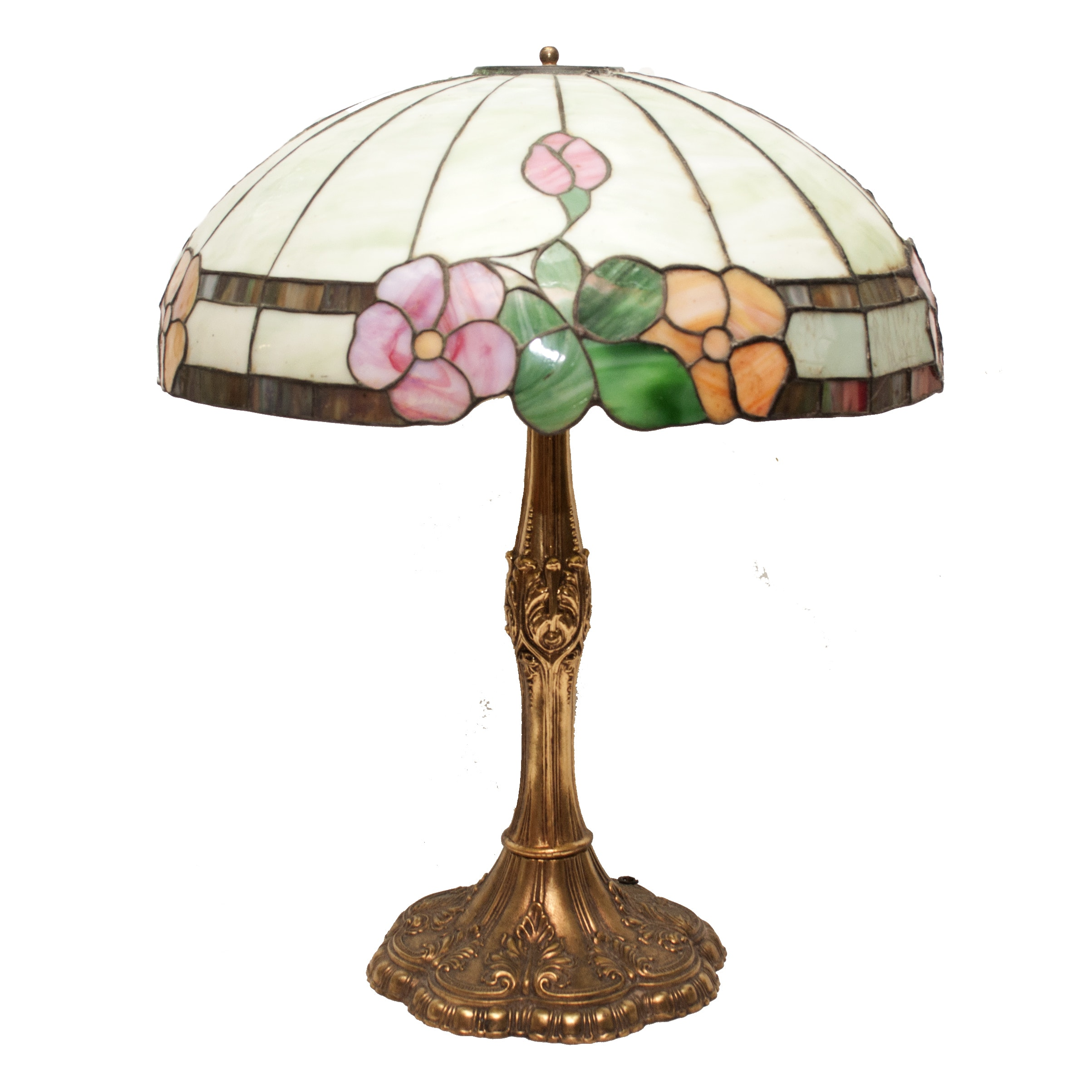 Loevsky & Loevsky Brass Table Lamp with Stained Glass Shade