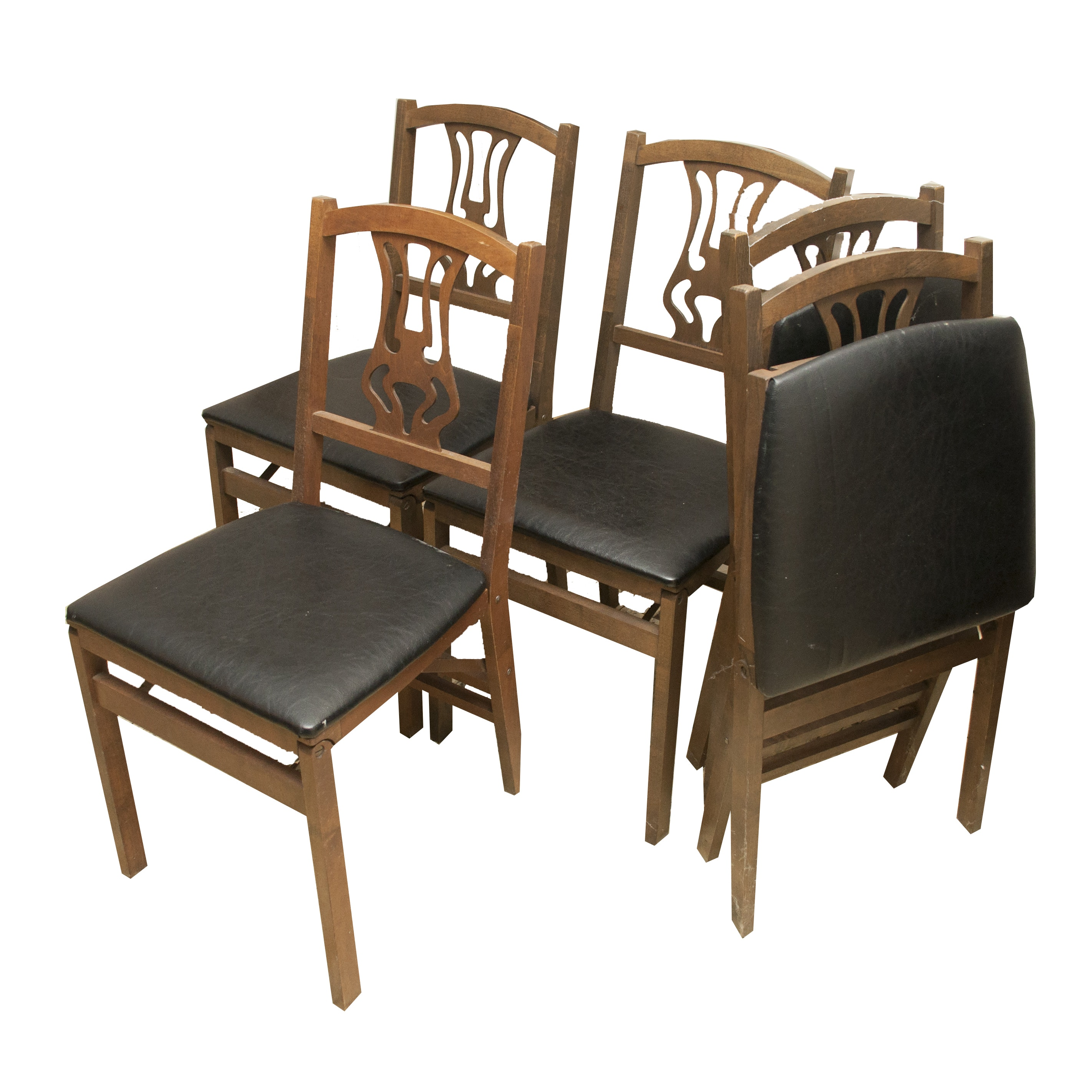 Birch Folding Chairs by Stakmore, Mid-20th Century