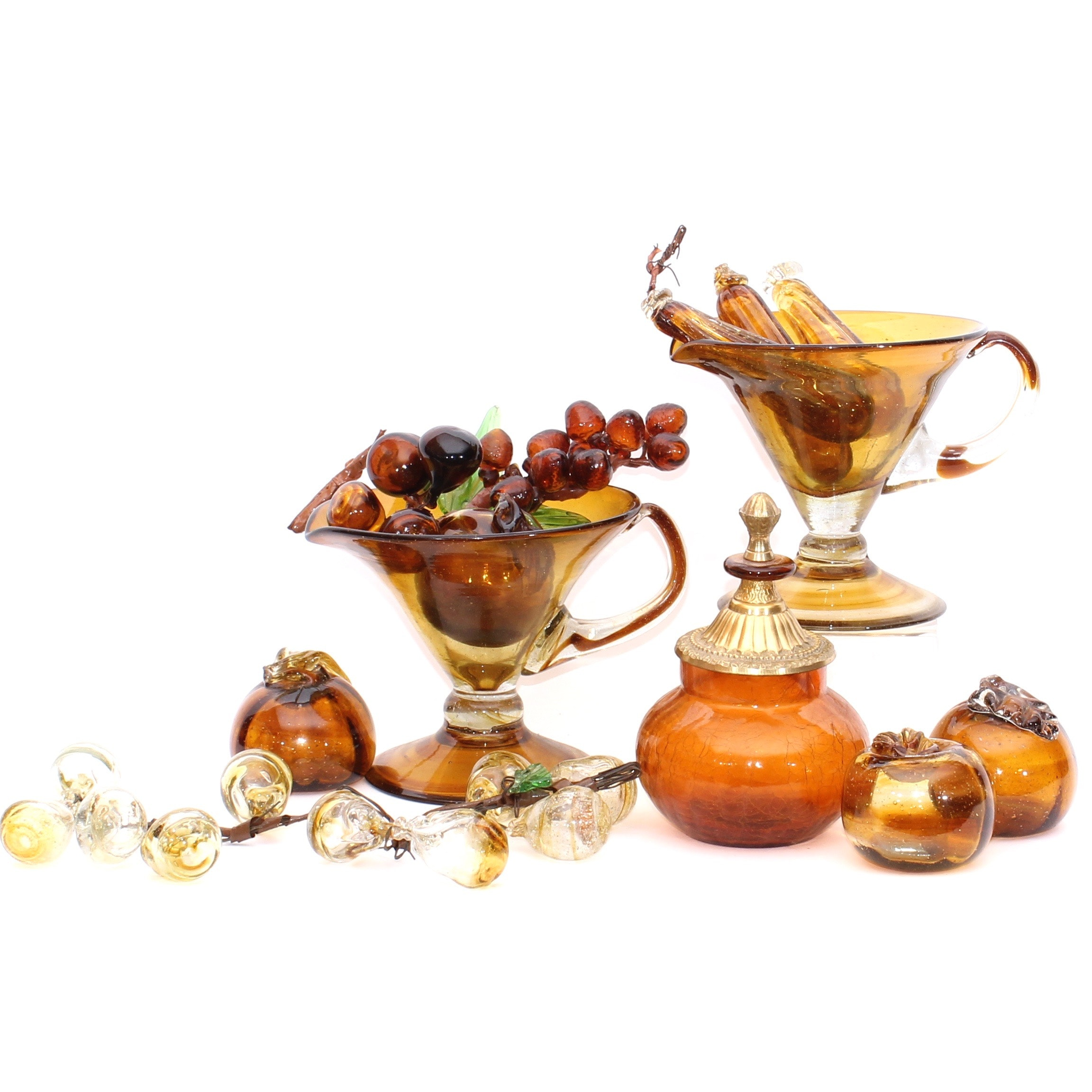 Collection of Amber Glass Decor