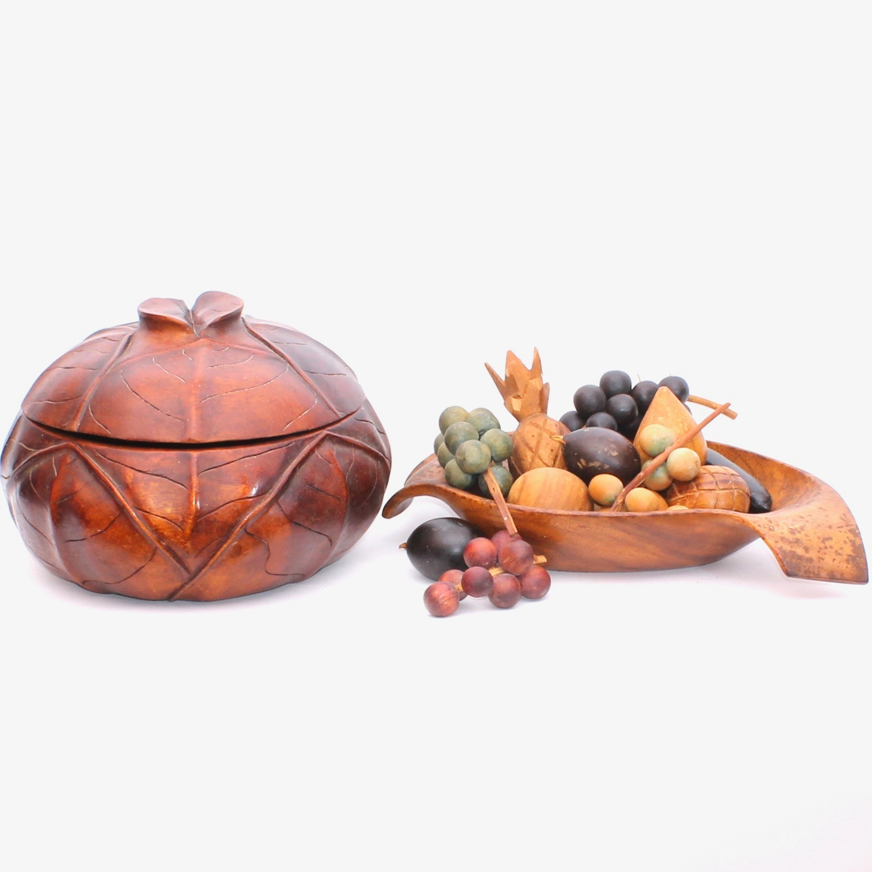 Wooden Fruit Bowl and Carved Cabbage Bowl and Lid