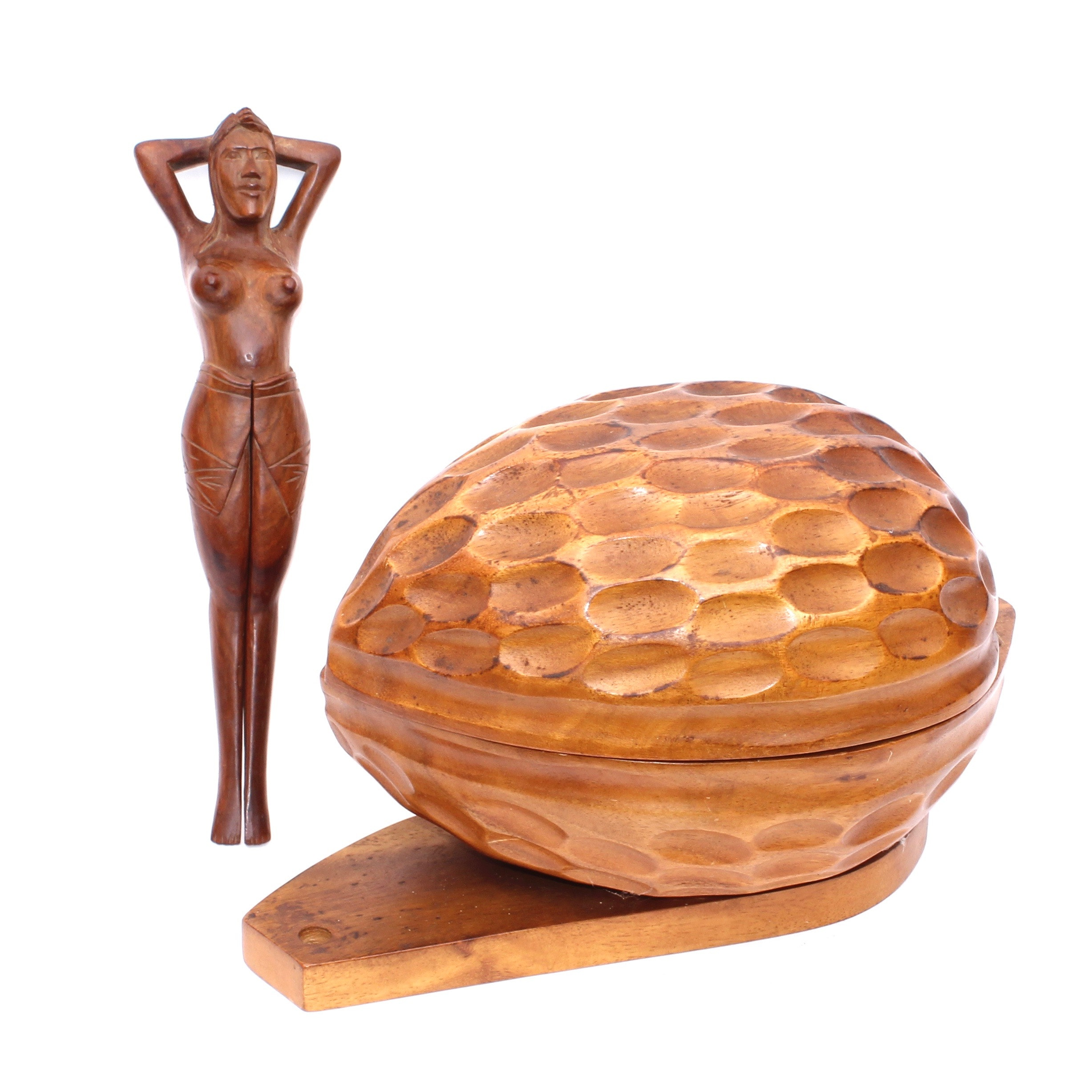 Wooden Carved Nut Bowl and Figure Nut Cracker