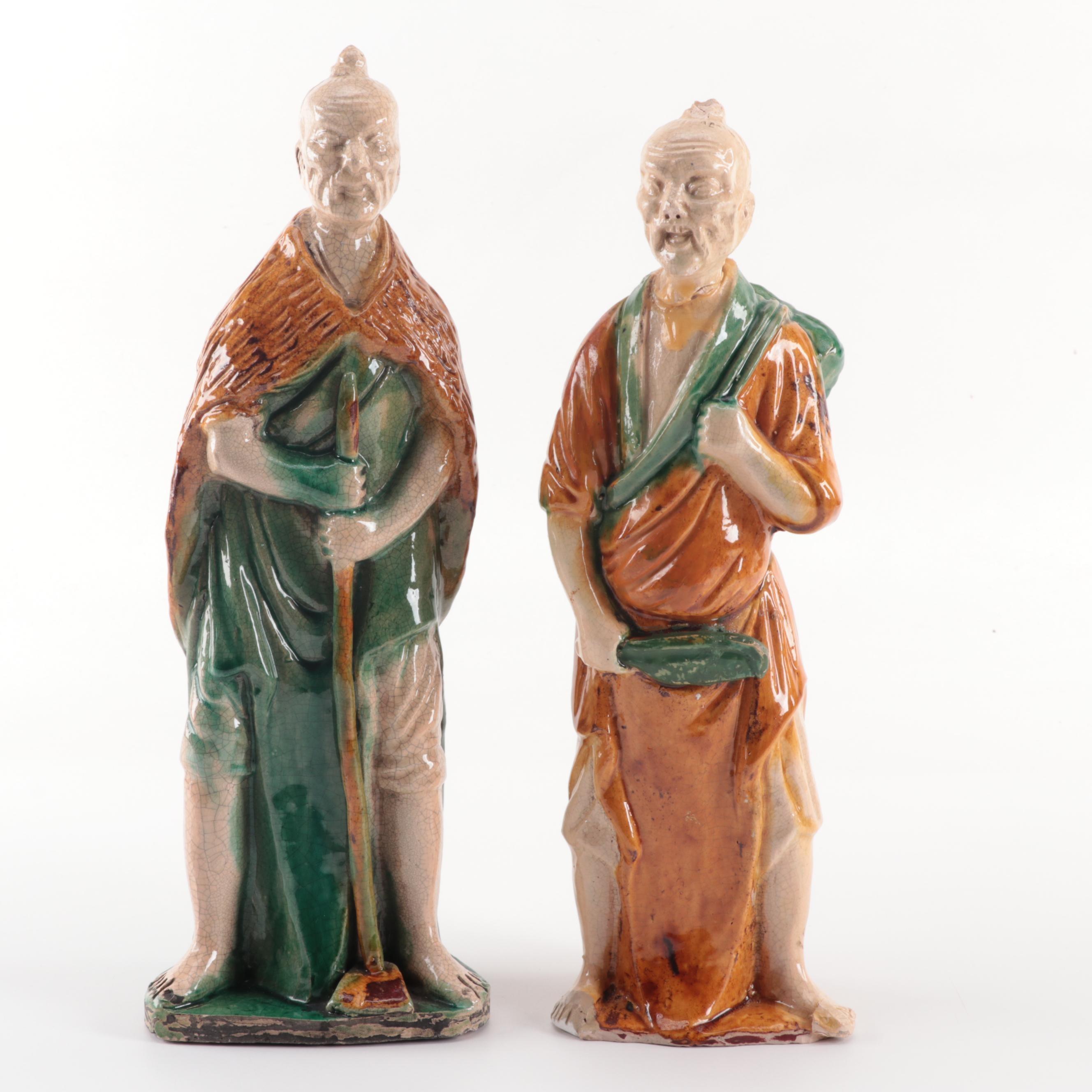 Chinese Sancai Glazed Ceramic Figurines