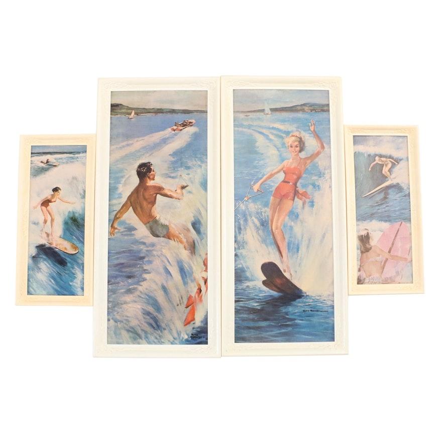 1950s-1960s Framed Surfing Prints : EBTH