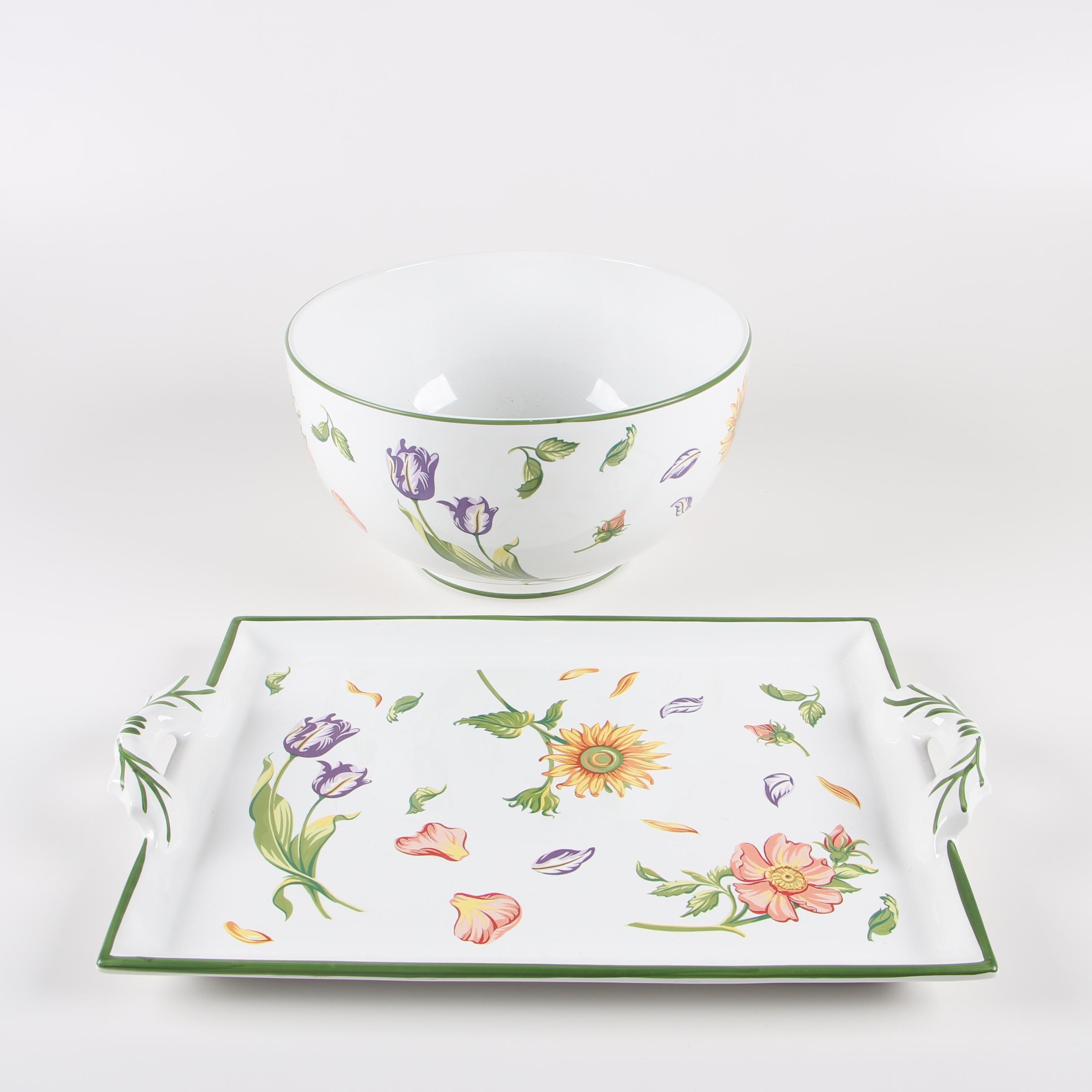 "Tiffany & Co. ""Tiffany Petals"" Serving Bowl and Handled Tray"