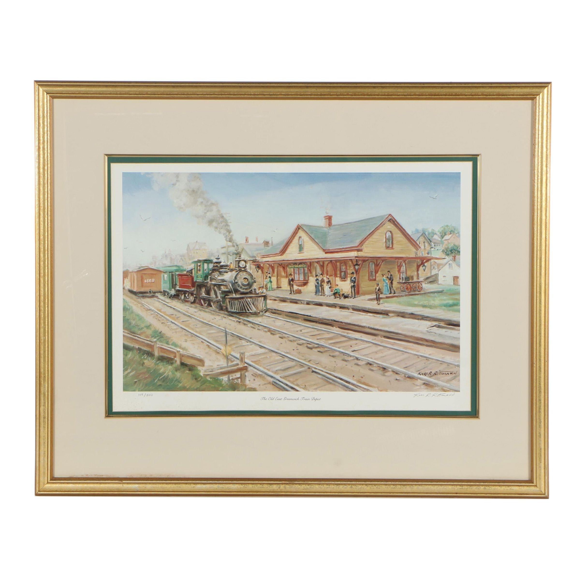 "Karl R. Rittmann Offset Lithograph ""The Old East Greenwich Train Depot"""