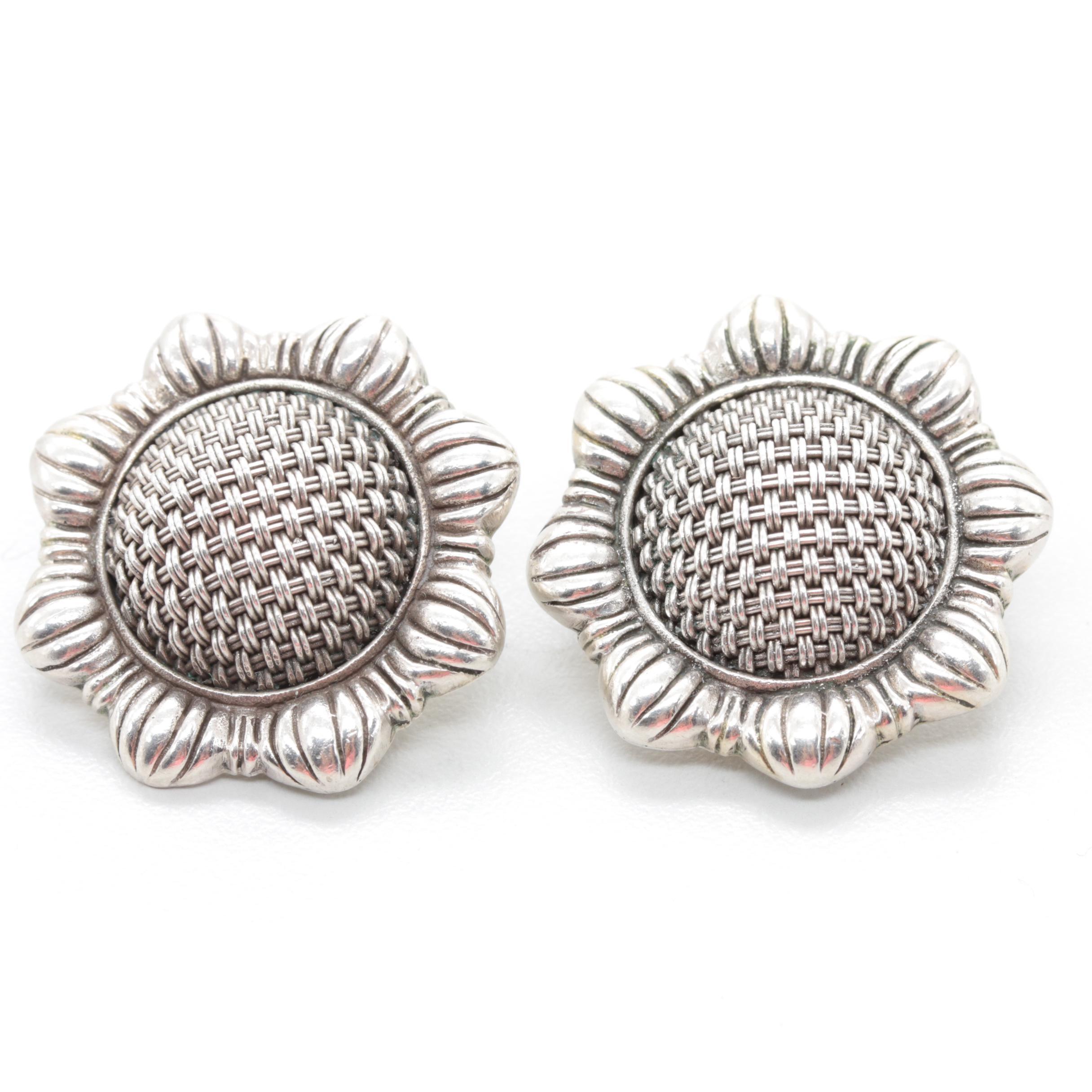 John Hardy Sterling Silver Floral Omega Back Earrings