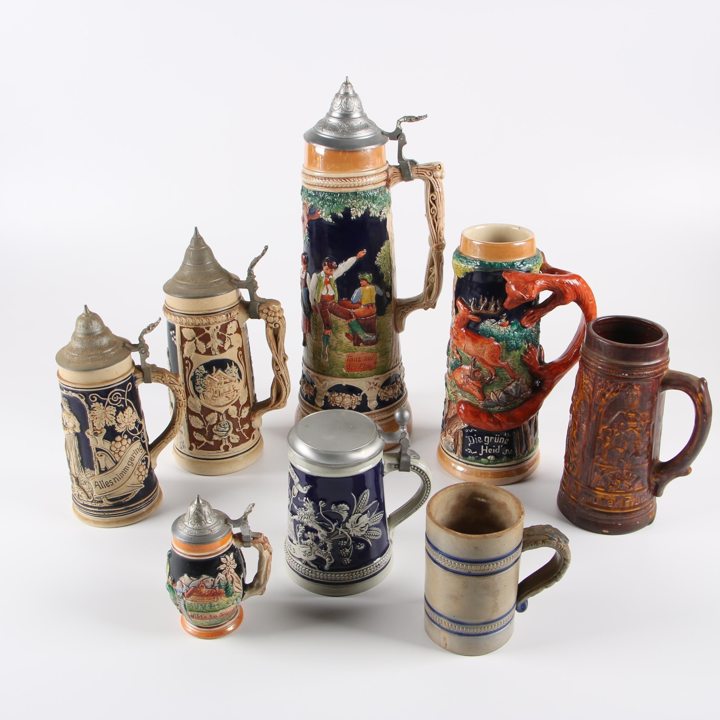 Antique John Wygand Stoneware Mug with Vintage German Steins