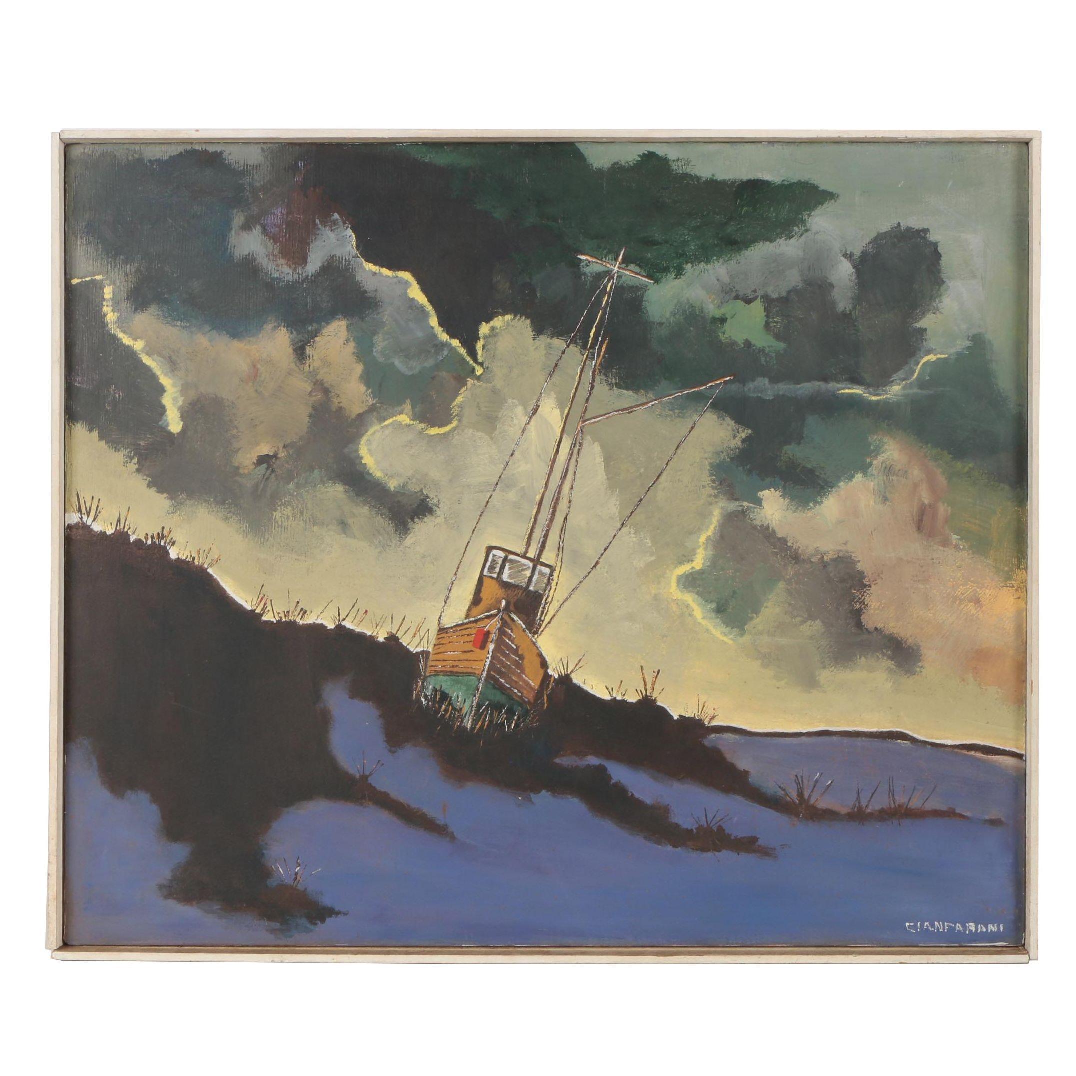 Cianfarani Oil Painting of Beached Fishing Trawler