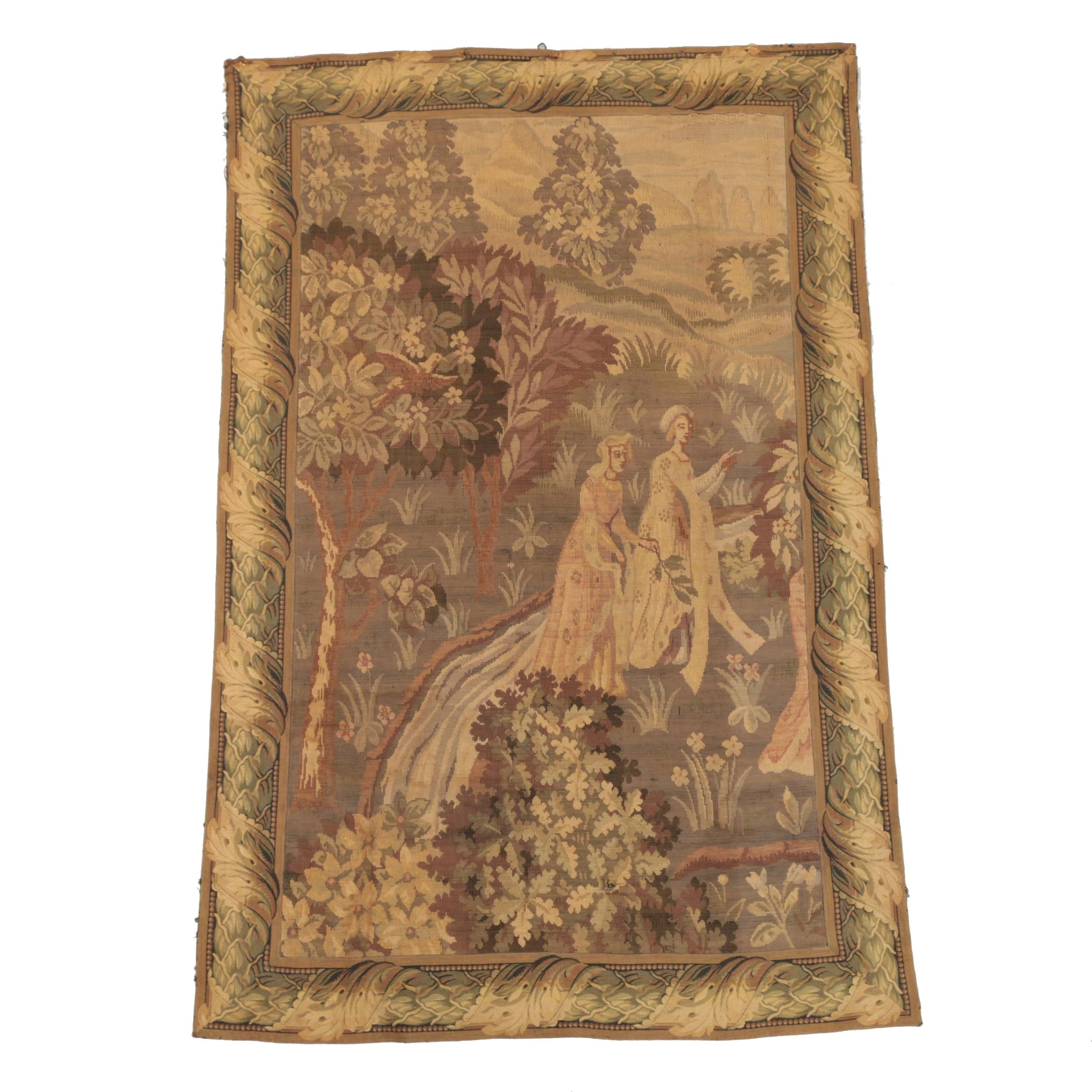 Antique Woven Pastoral Wall Hanging