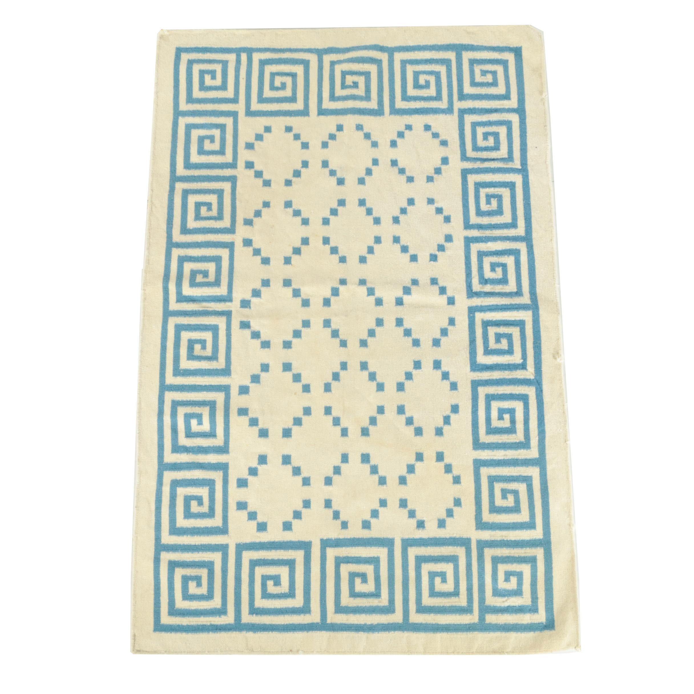 Handwoven Indian Dhurrie Wool Rug
