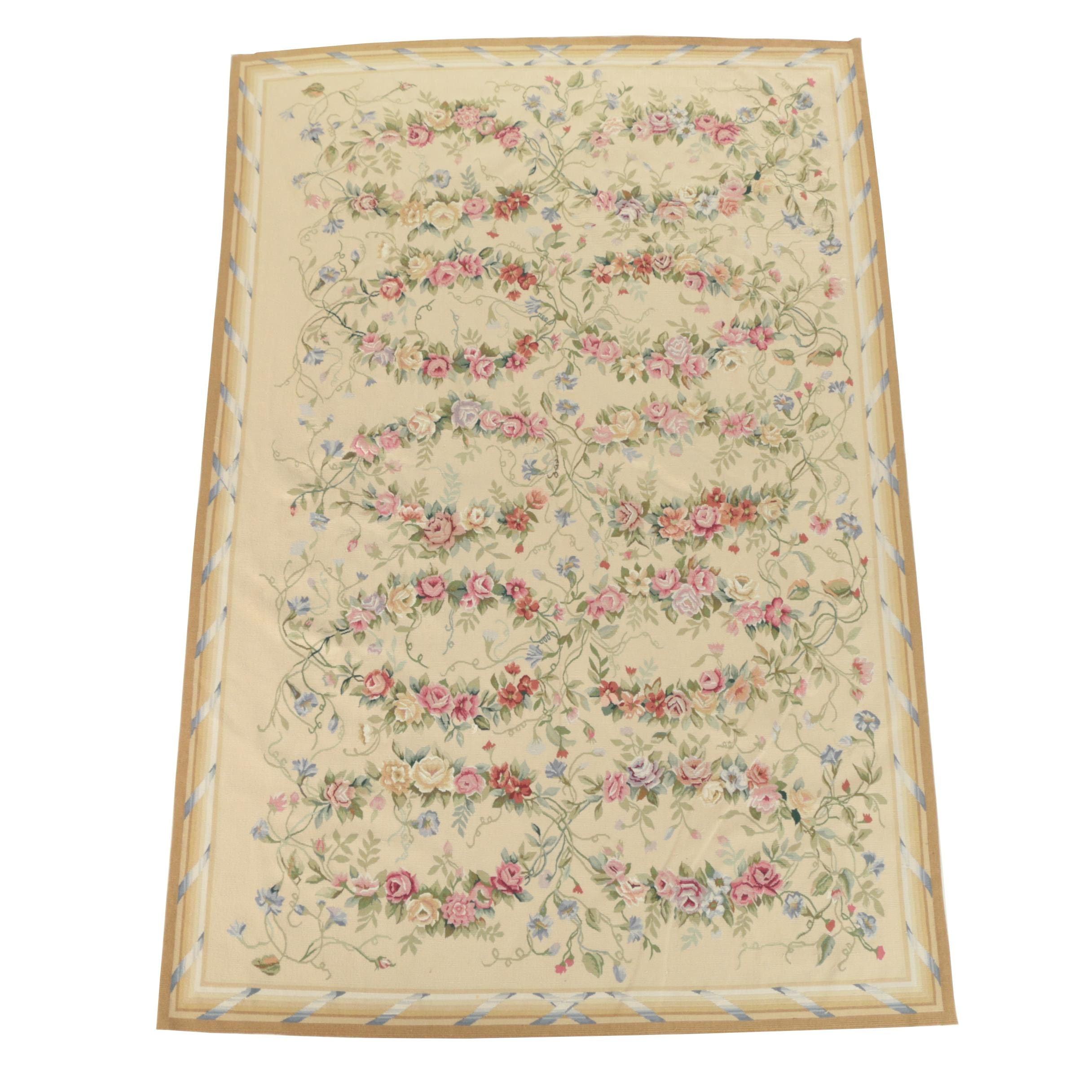 Handmade Needlepoint Floral Themed Wool Area Rug