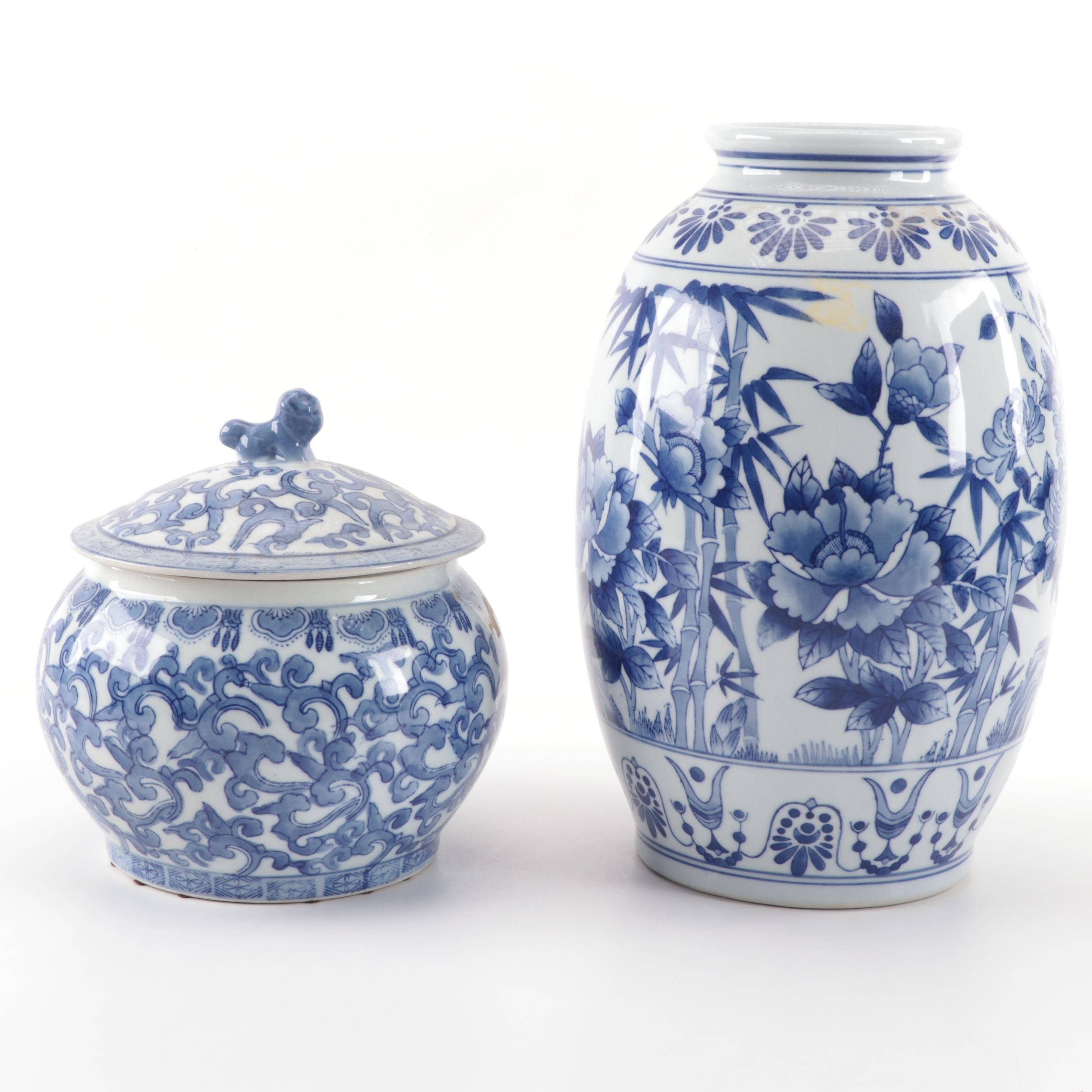 Ethan Allen Blue on White Ceramic Covered Pot with Chinese Blue on White Vase