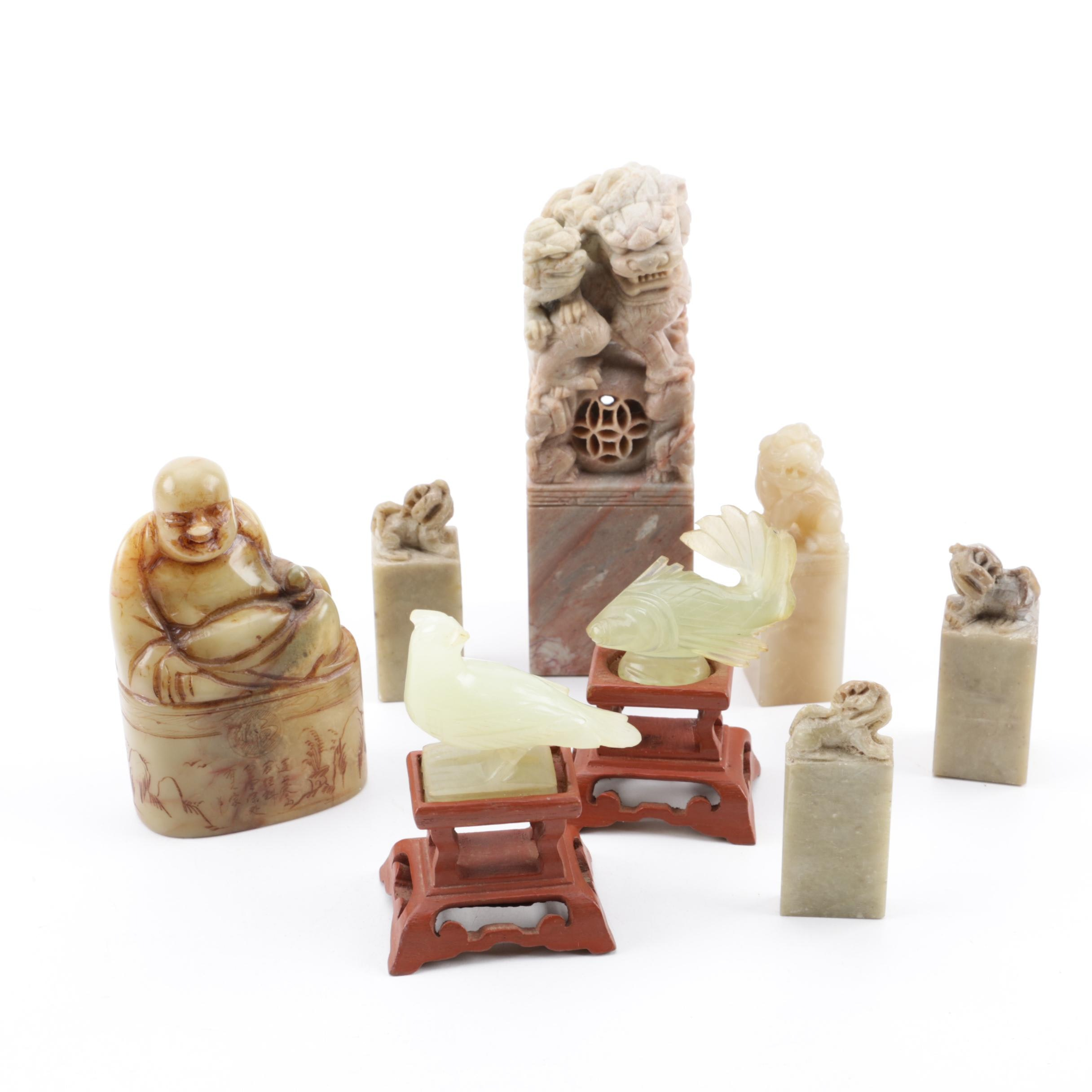Chinese Carved Soapstone Guardian Lion and Budai Seals with Bowenite Figurines