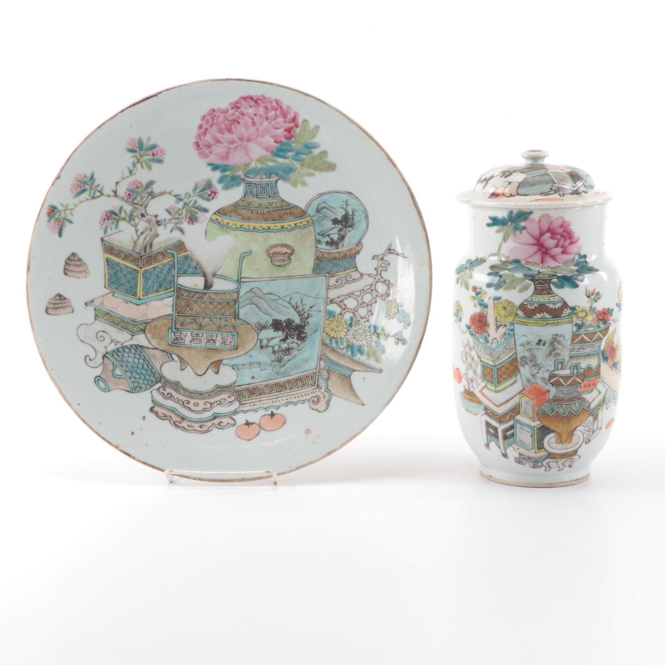 Hand-Painted Chinese Porcelain Ginger Jar and Decorative Plate