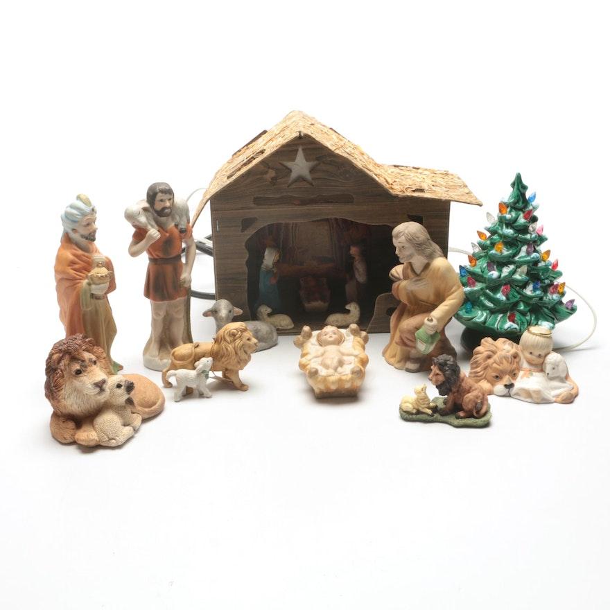 Christmas Nativity Decor With Electric Ceramic Tree