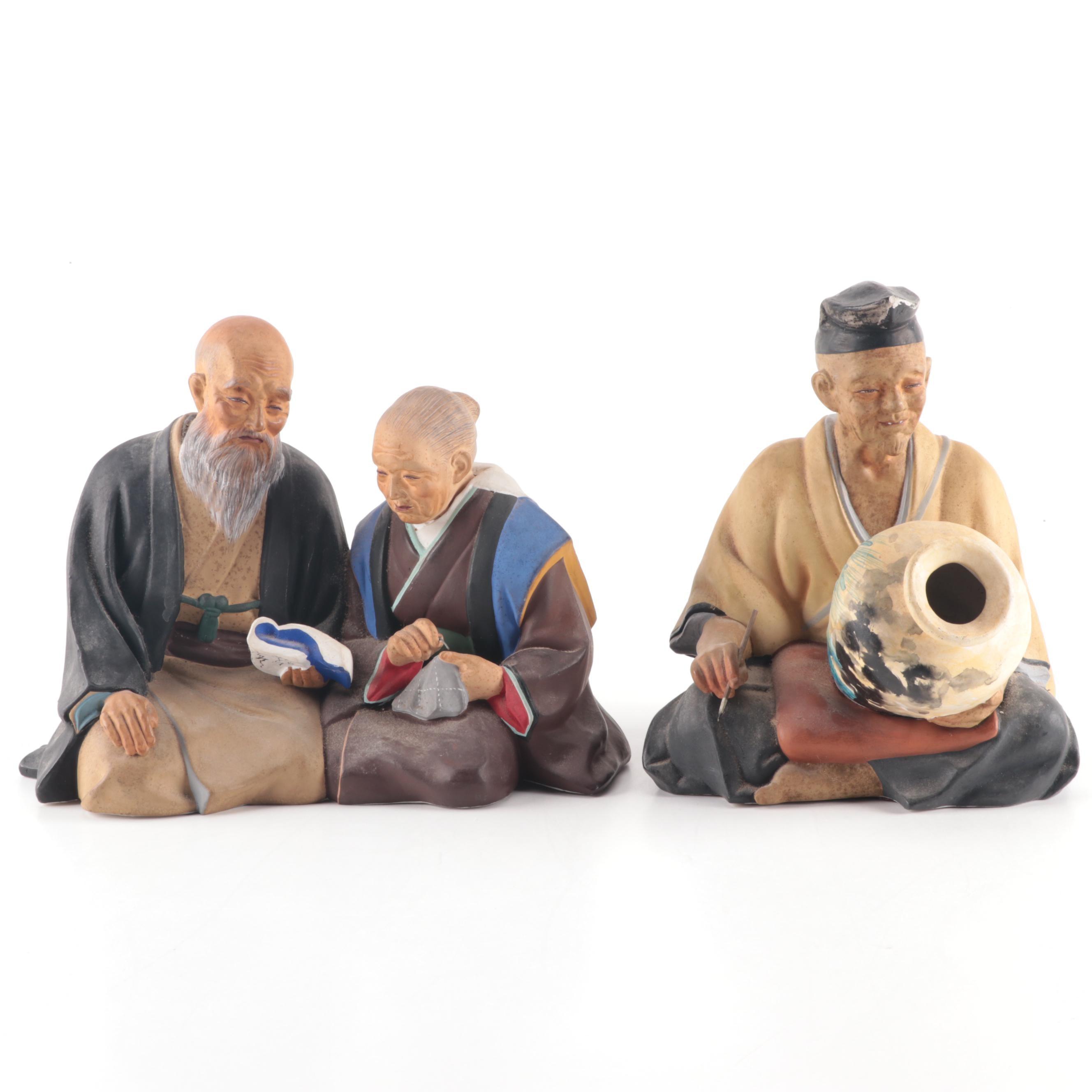 Japanese Hakata Urasaki Clay Dolls