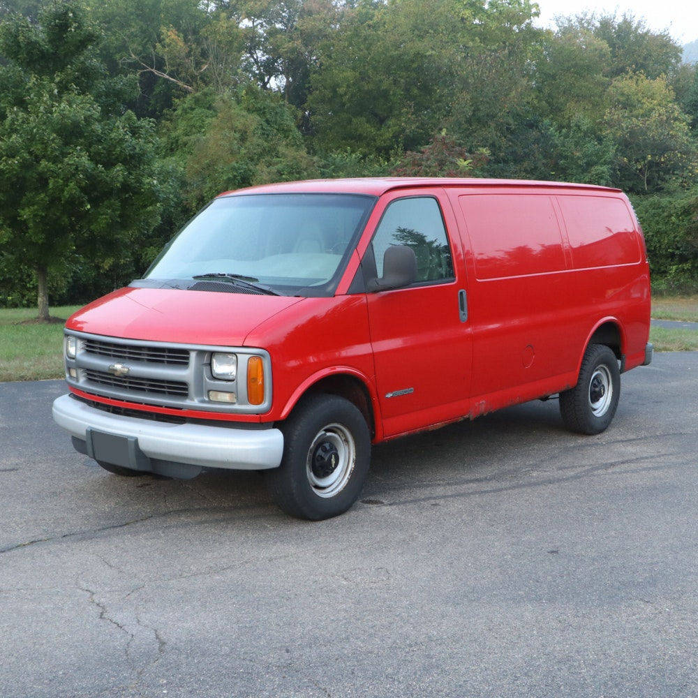 2001 Chevrolet 3500 Express Van With Interior Metal Gate and Matted Floor