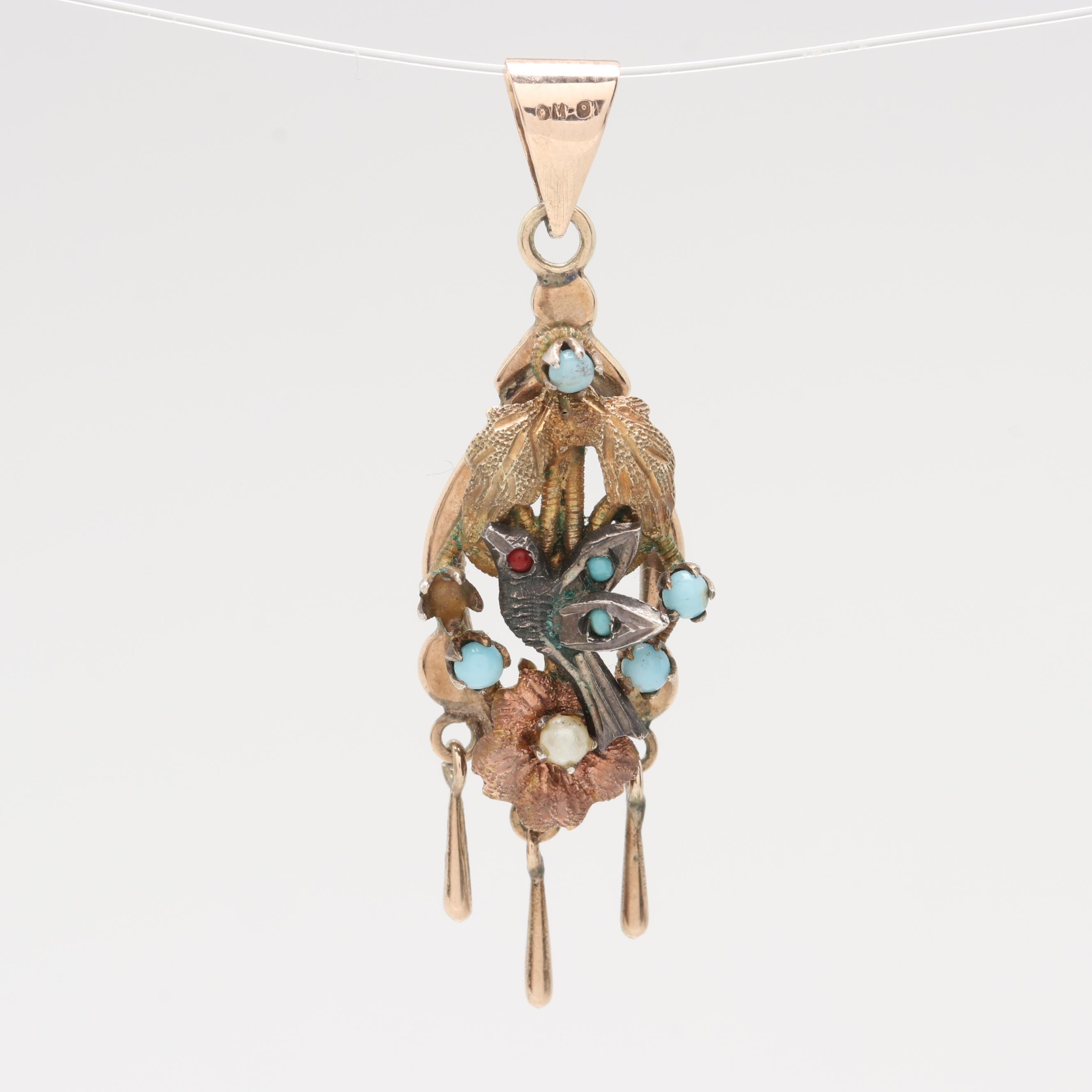 Victorian 9K Rose and Yellow Gold Pendant with 12K and Sterling Silver Accents