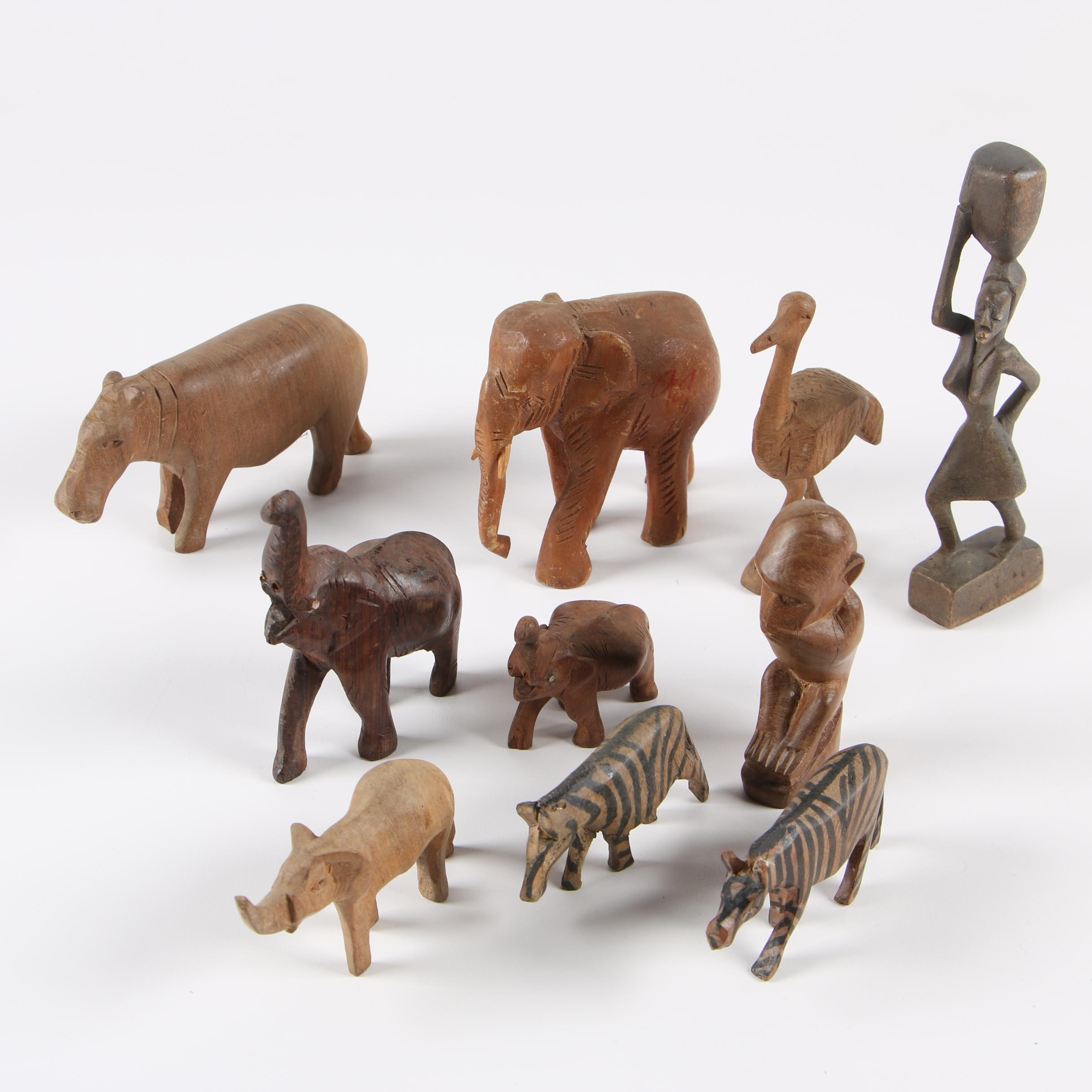 Carved Wood Figurines featuring African Animals