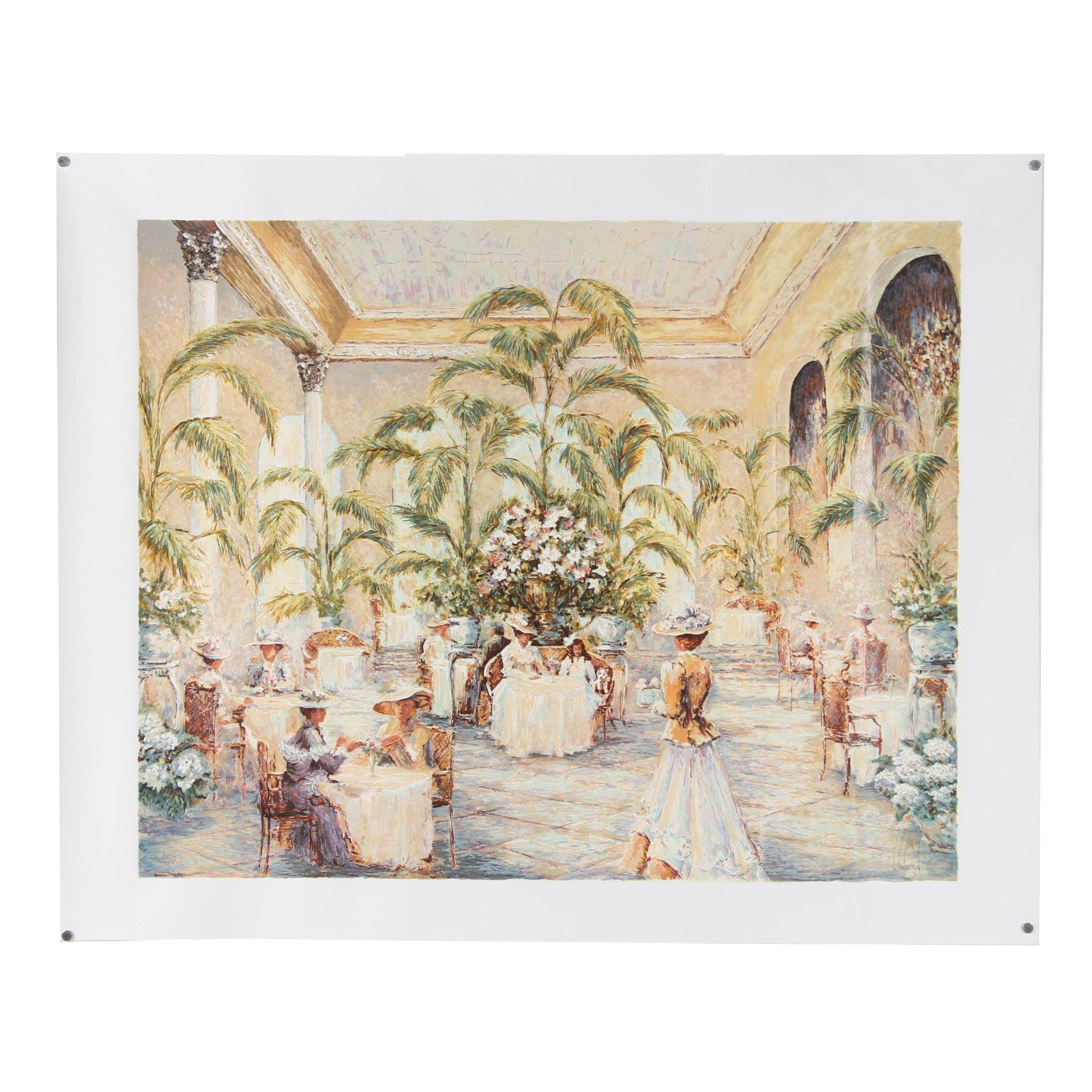 """Mark King Embellished Serigraph """"Palm Court"""""""