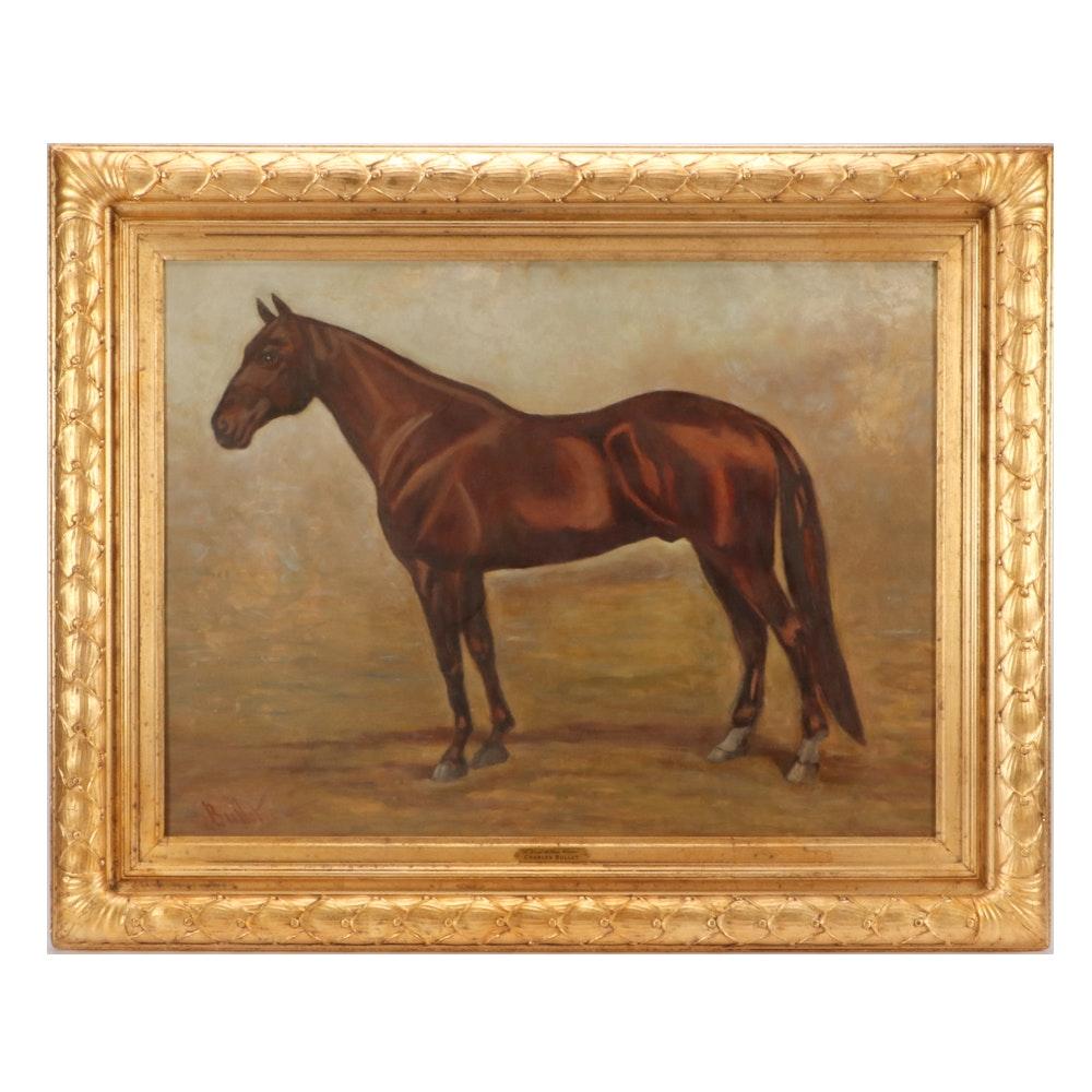"Charles Bullet II Equine Portrait Oil Painting ""A Blue Ribbon Winner"""