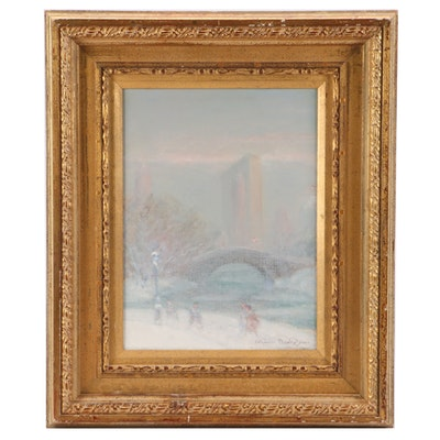 "Johann Berthelsen Oil Painting on Canvas ""Central Park, N.Y."""