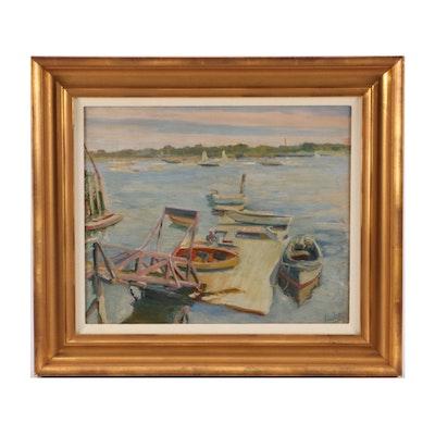 "John Rettig Impressionist Oil Painting ""Yacht Yard Landing - Marblehead, Mass."""