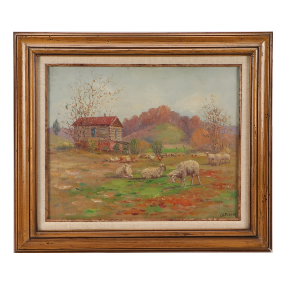 Charles Alfred Meurer Oil Painting of Pastoral Scene