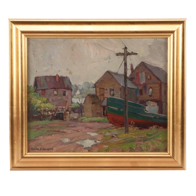 "Emile Albert Gruppé Oil Painting ""Gloucester Harbor"""