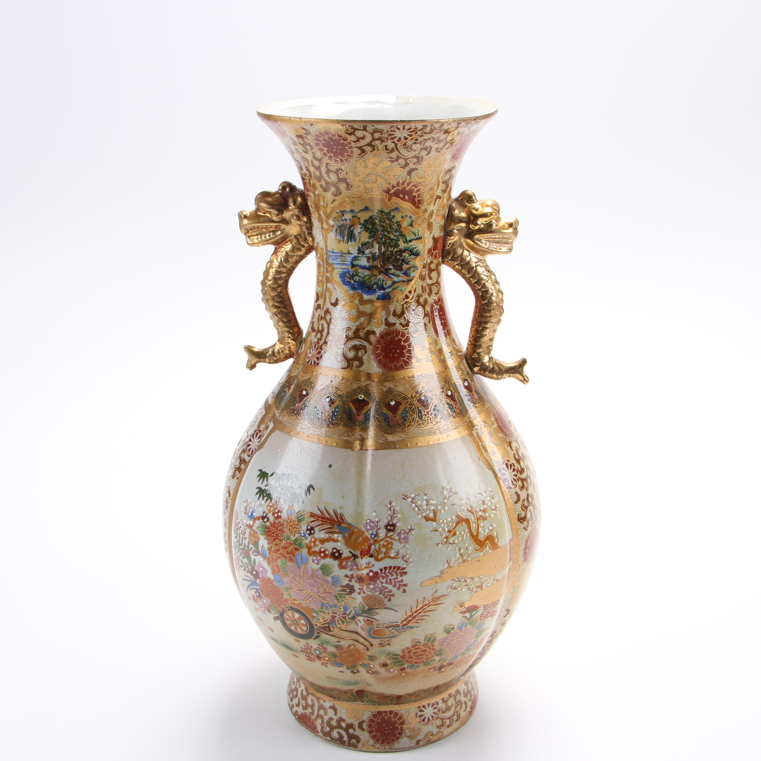 Chinese Satsuma Style Ceramic Vase with Moriage Detailing
