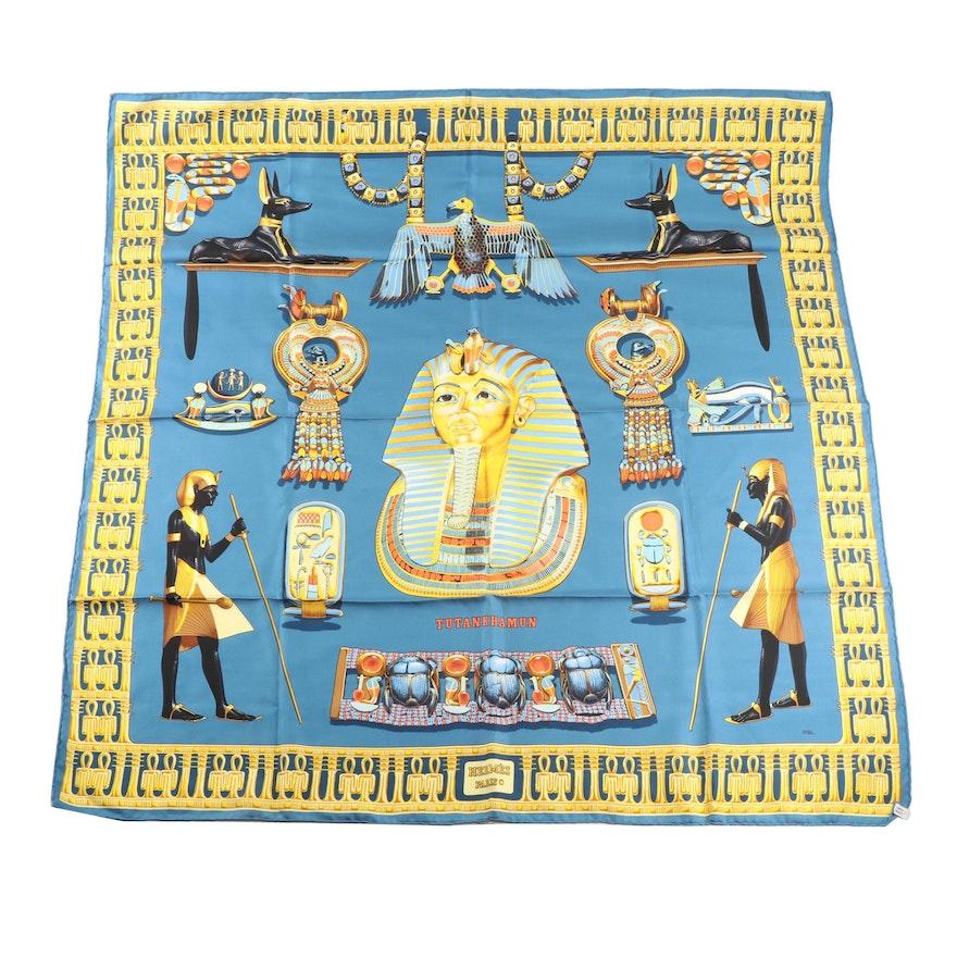 "1976 Vintage Hermès of Paris ""Tutankhamun"" Silk Scarf"