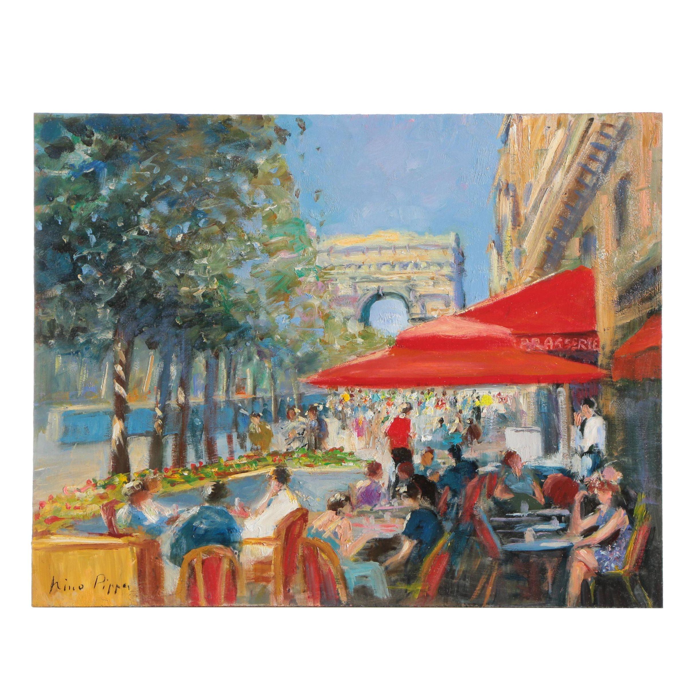 """Nino Pippa Oil Painting """"Paris - Sidewalk Café In Champs-Élysées"""""""