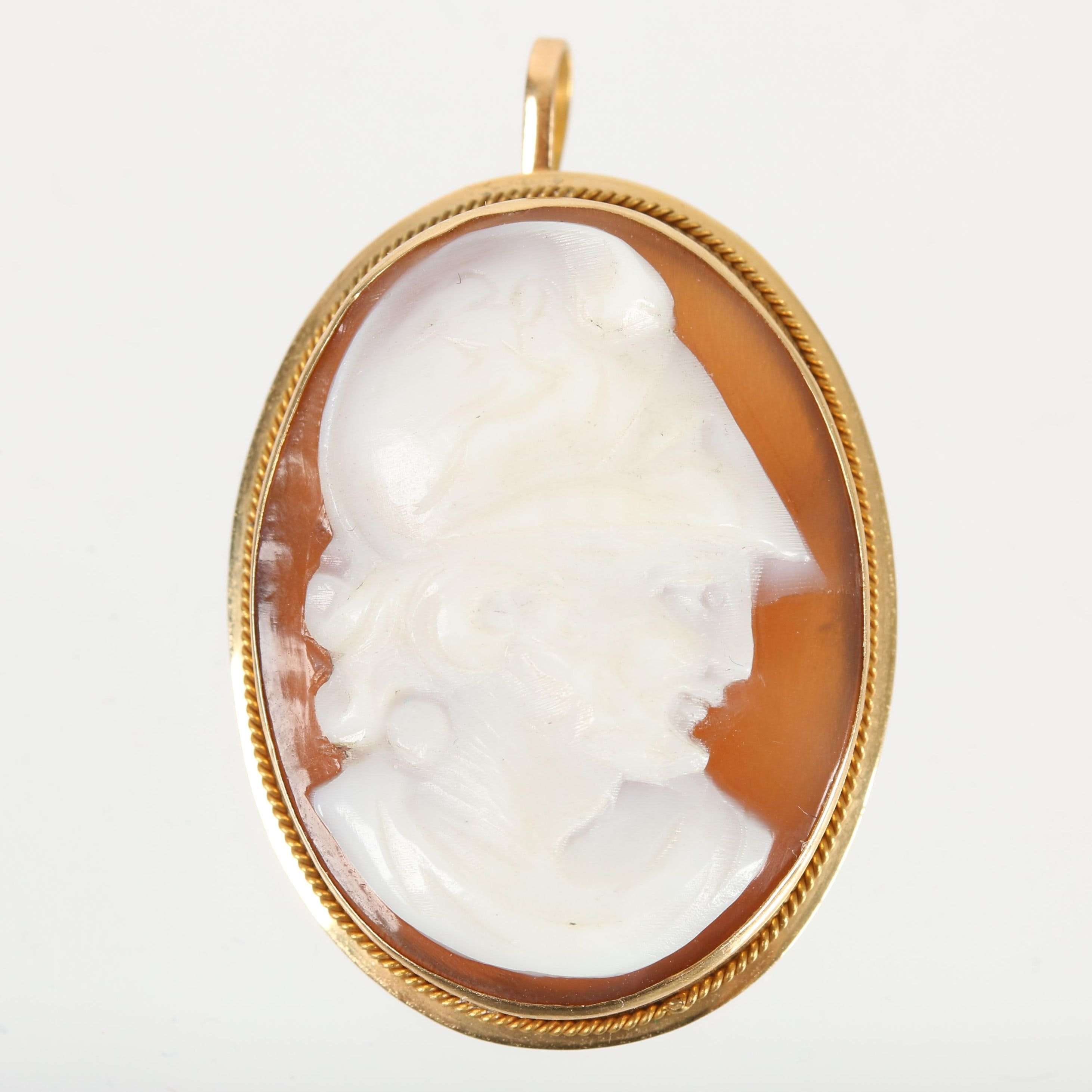 14K Yellow Gold Carved Sardonyx Cameo Converter Brooch